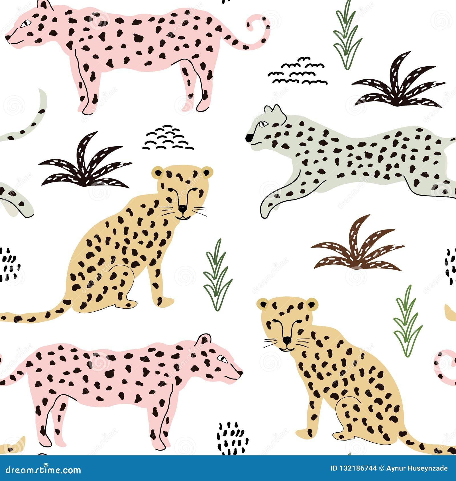 Modello senza cuciture con i leopardi fondo per tessuto, tessuto, carta da parati