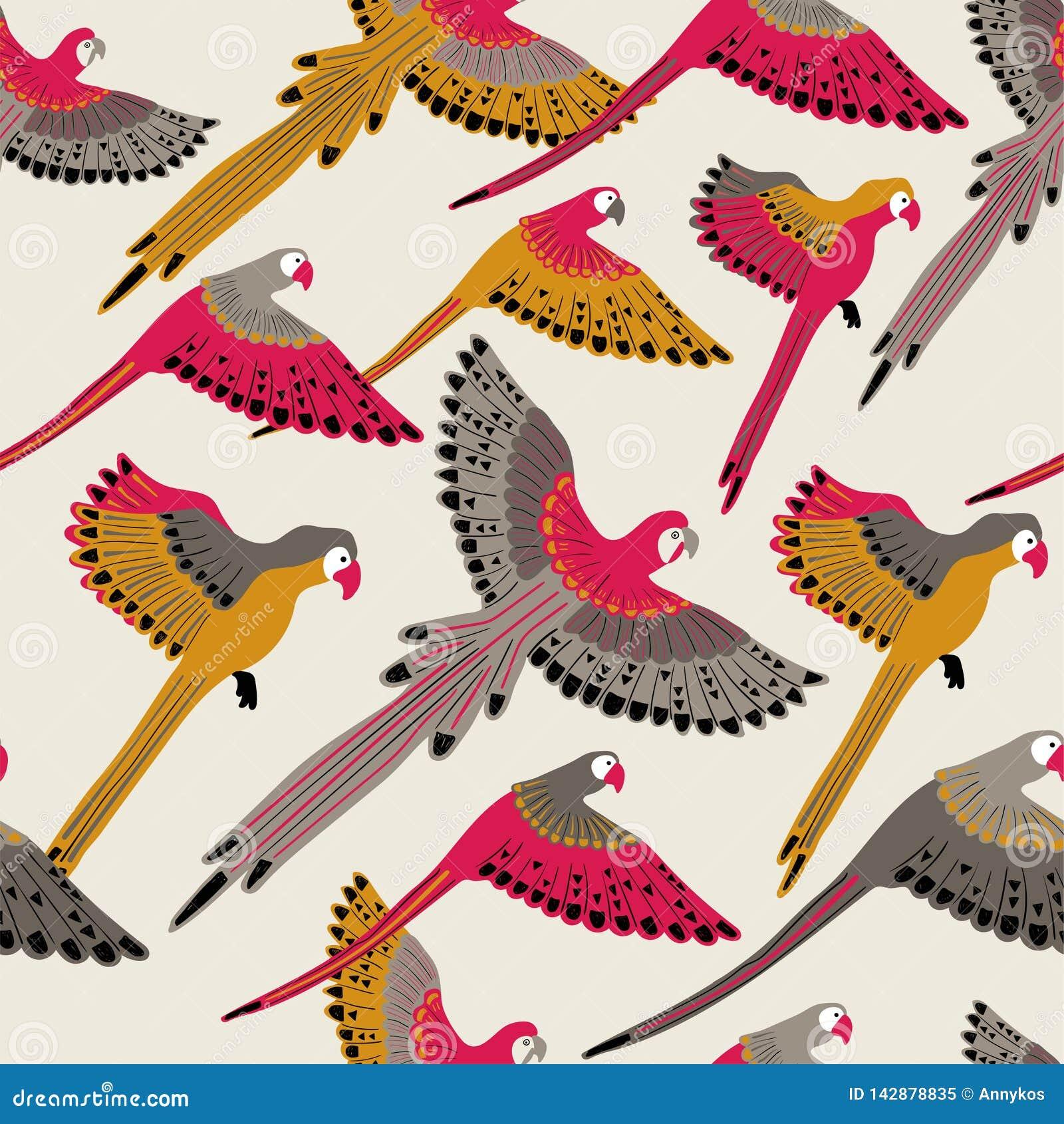 Modello senza cuciture con i pappagalli volanti