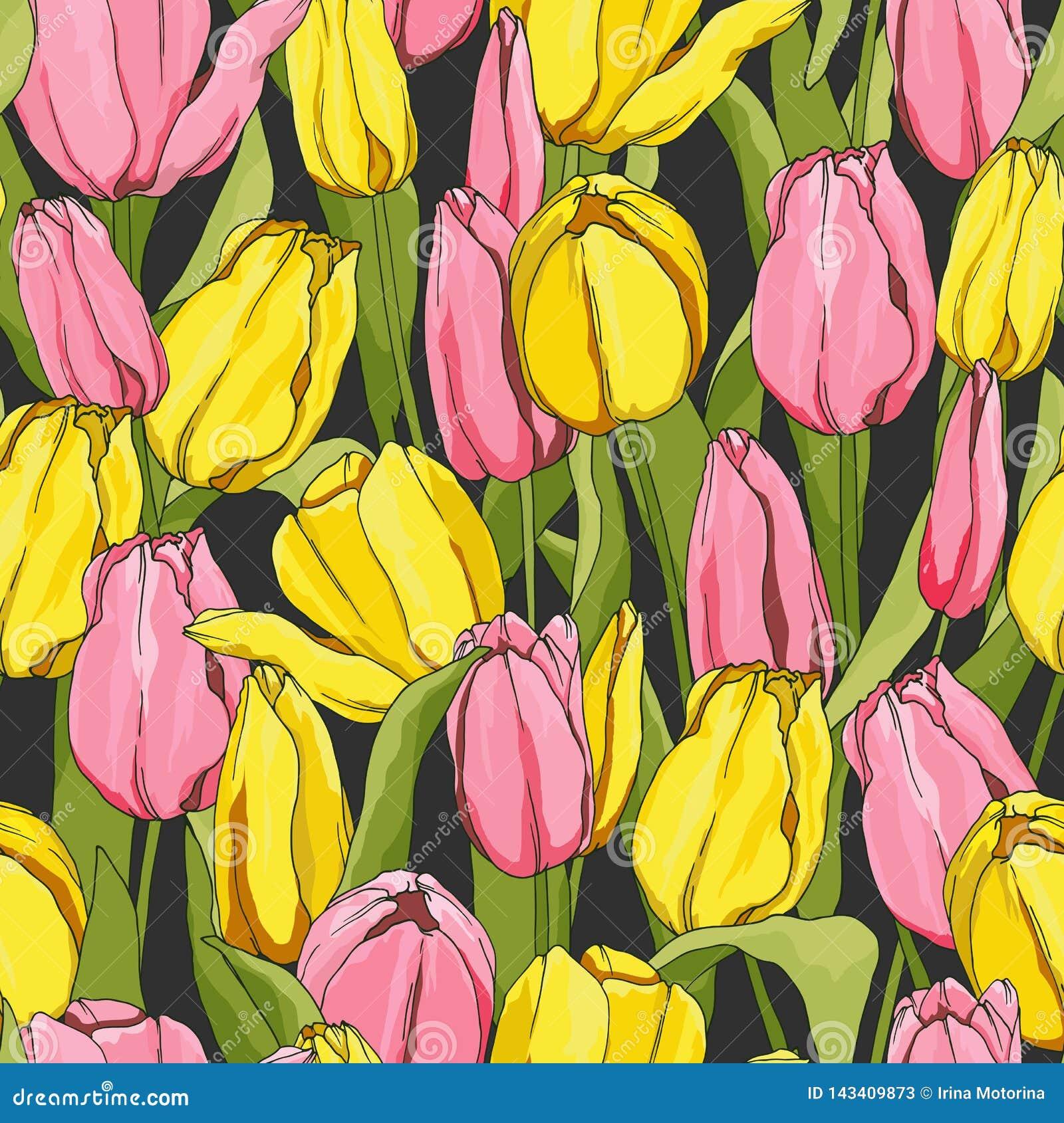 Modello senza cuciture con i tulipani