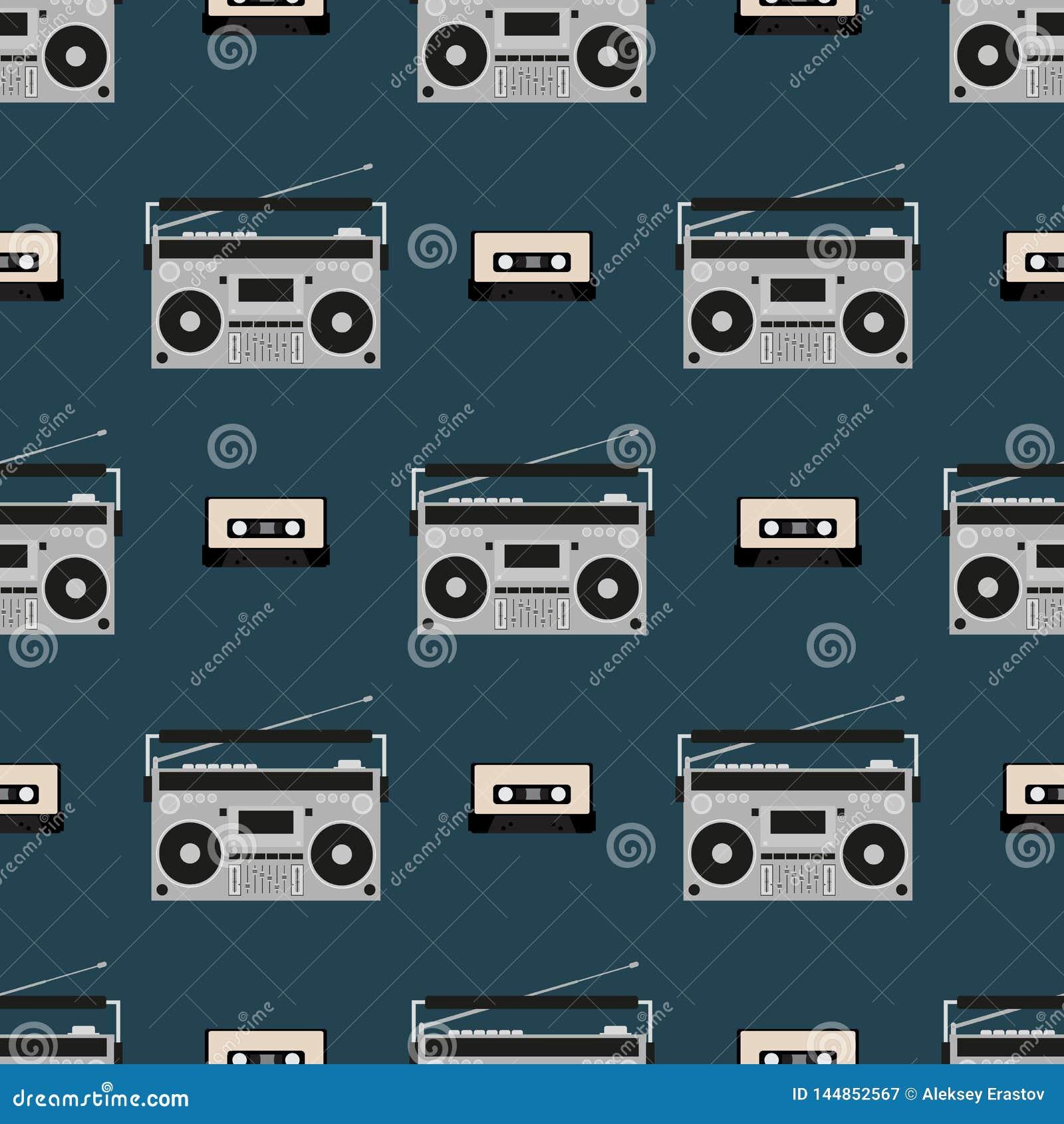 Modello senza cuciture con i vecchi boomboxes e cassette di nastro Stampa d annata di musica Retro illustrazione di vettore