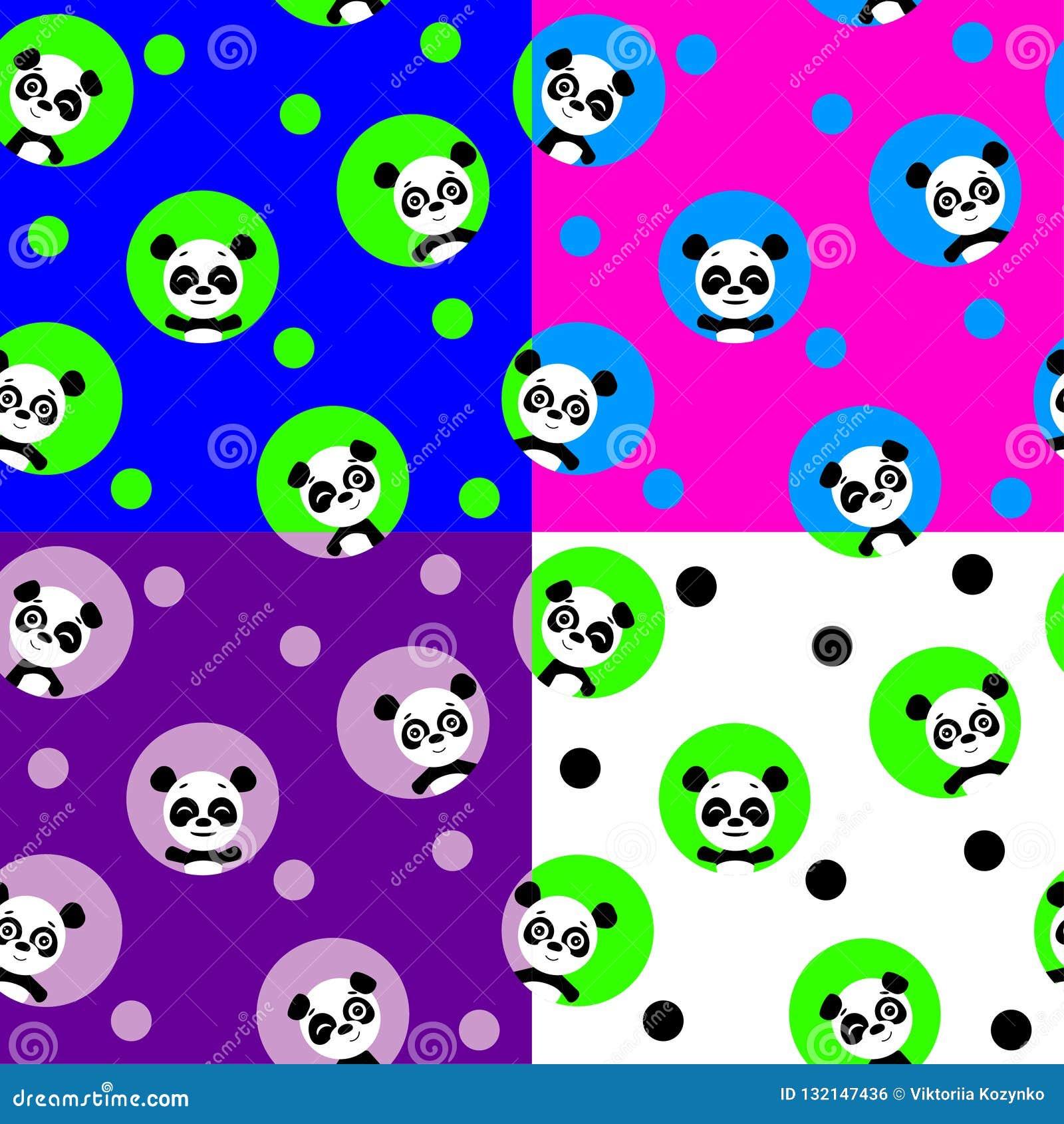 Modello senza cuciture con il panda di kawaii Illustrazione di vettore