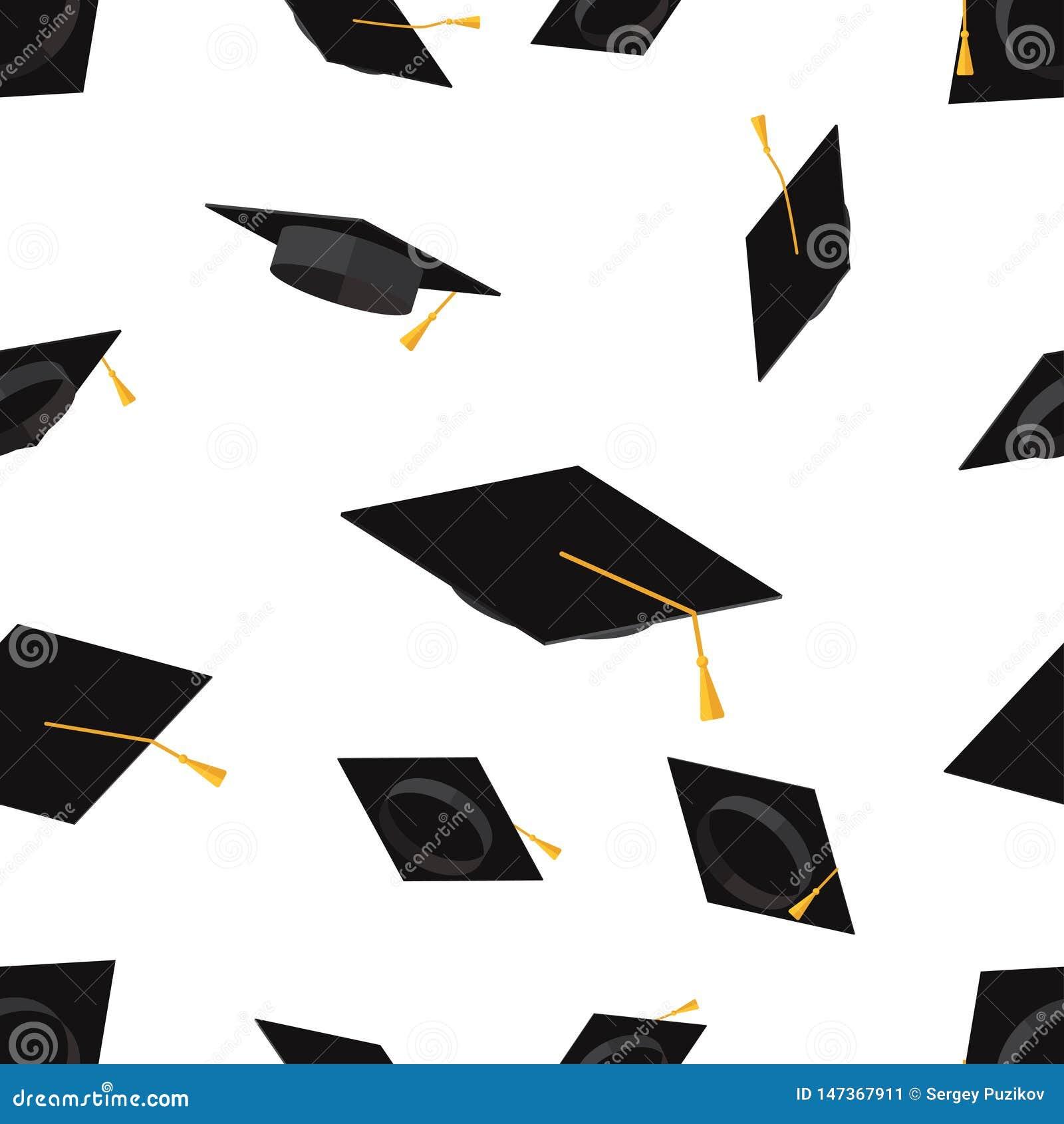 Modello senza cuciture con l illustrazione piana di graduazione di vettore accademico delle tazze