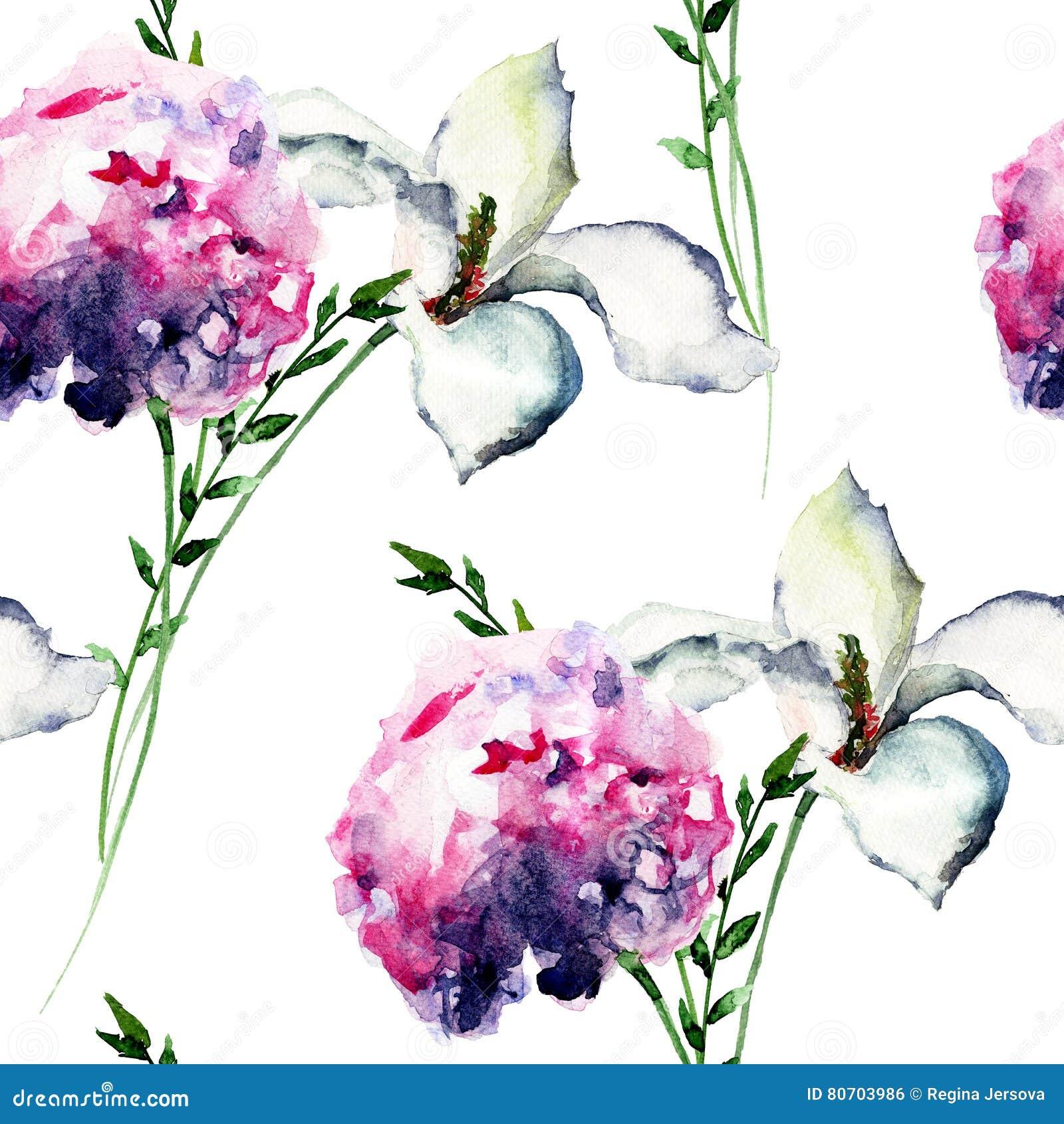 Modello senza cuciture con l 39 ortensia con il fiore del - Modello di base del fiore ...
