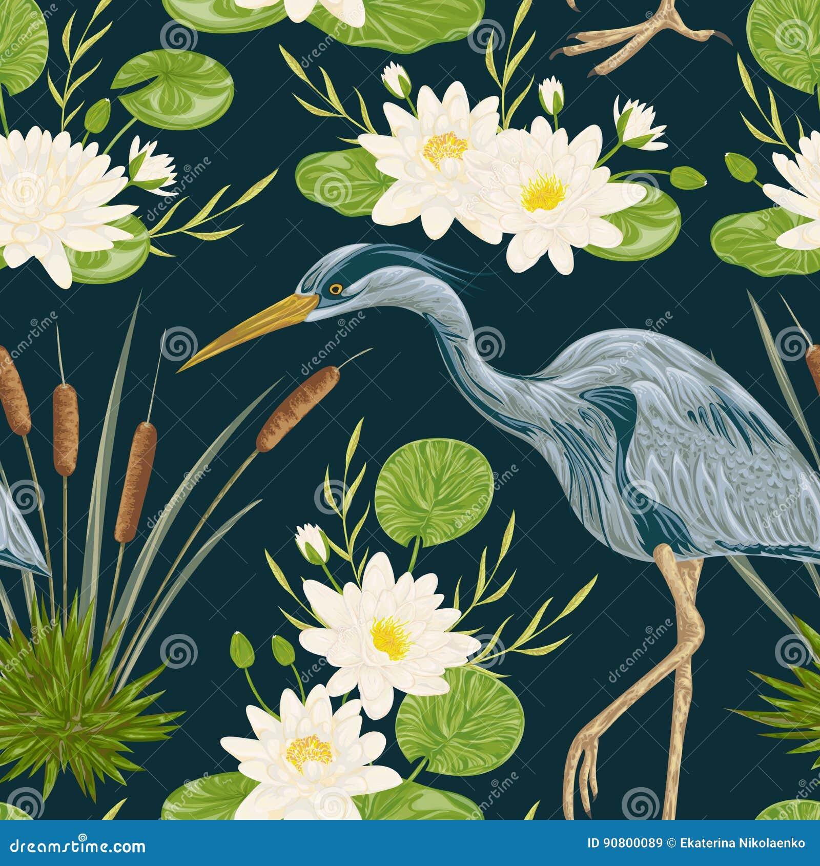 Modello senza cuciture con l uccello, la ninfea ed il giunco dell airone Flora e fauna della palude