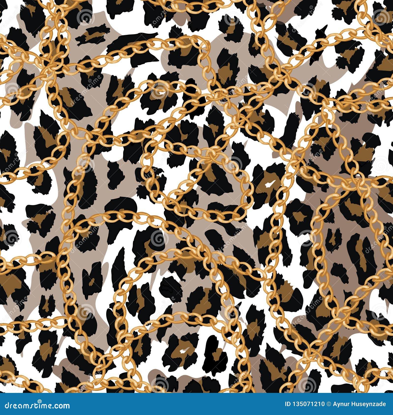 Modello senza cuciture con la catena dell oro sulla pelle, sulla cinghia e sulle perle di lepard Illustrazione