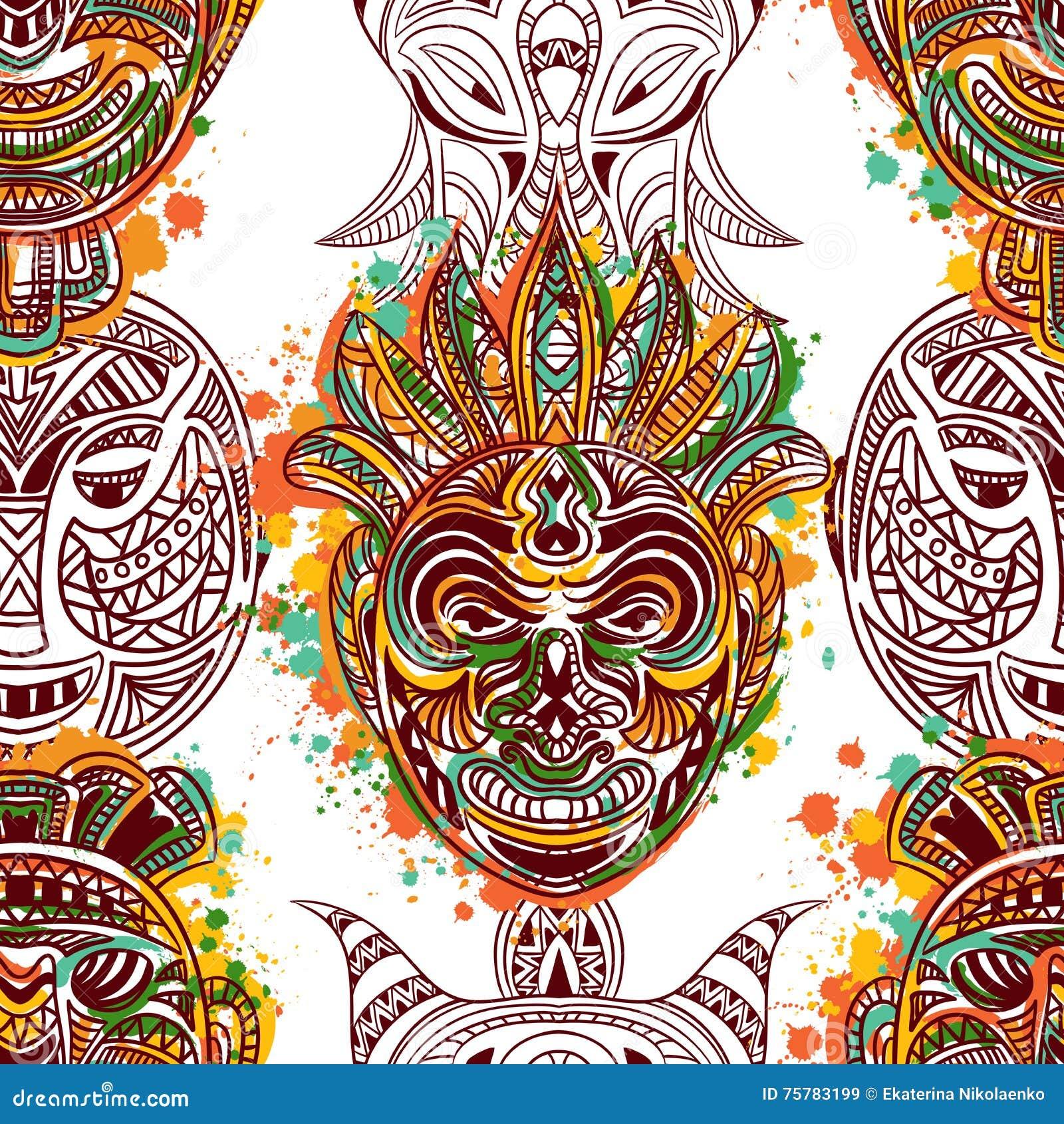 Modello senza cuciture con la maschera tribale africana con l ornamento geometrico etnico
