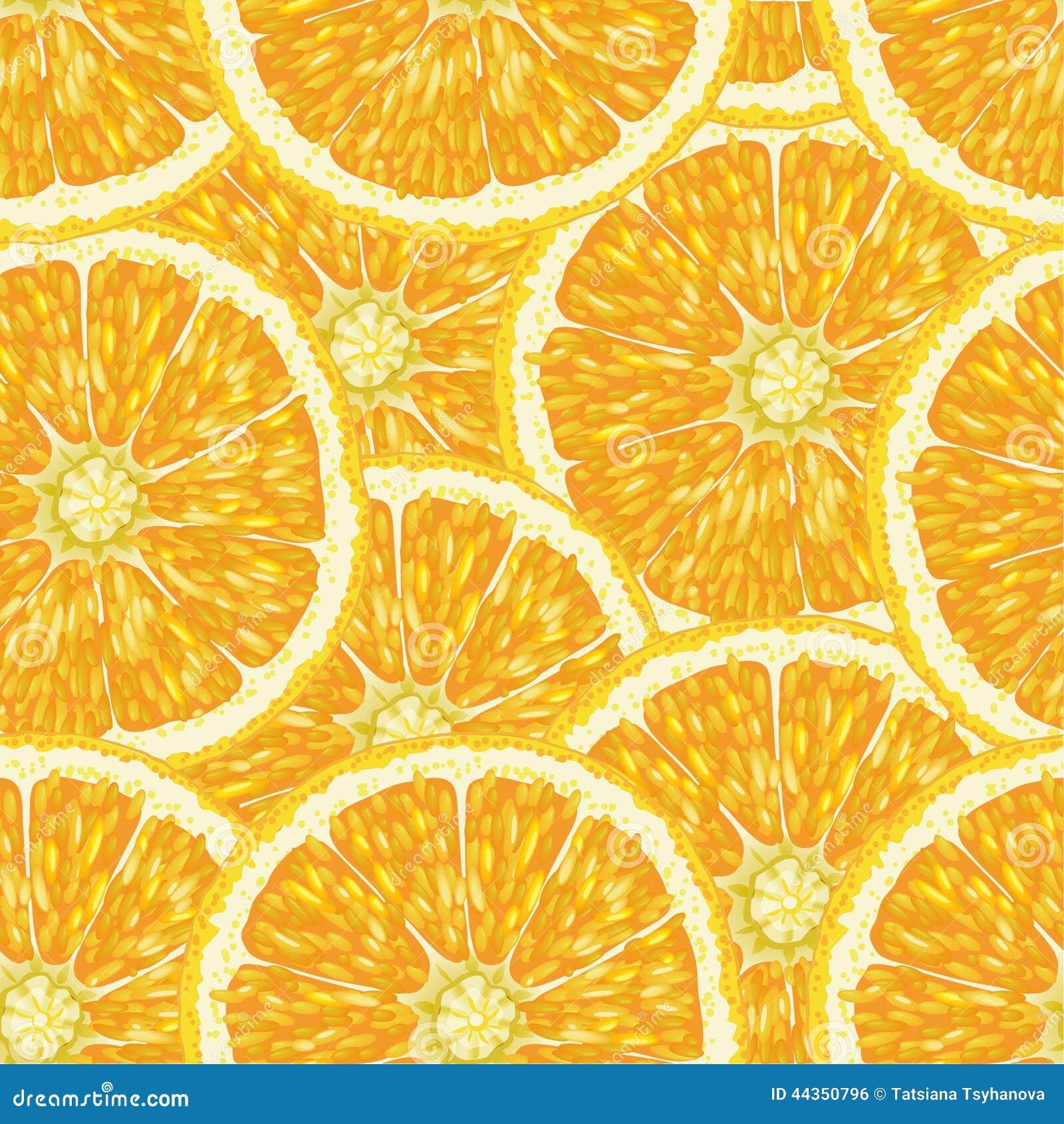 Modello senza cuciture con le arance, le fette e le foglie verdi Illustrazione realistica