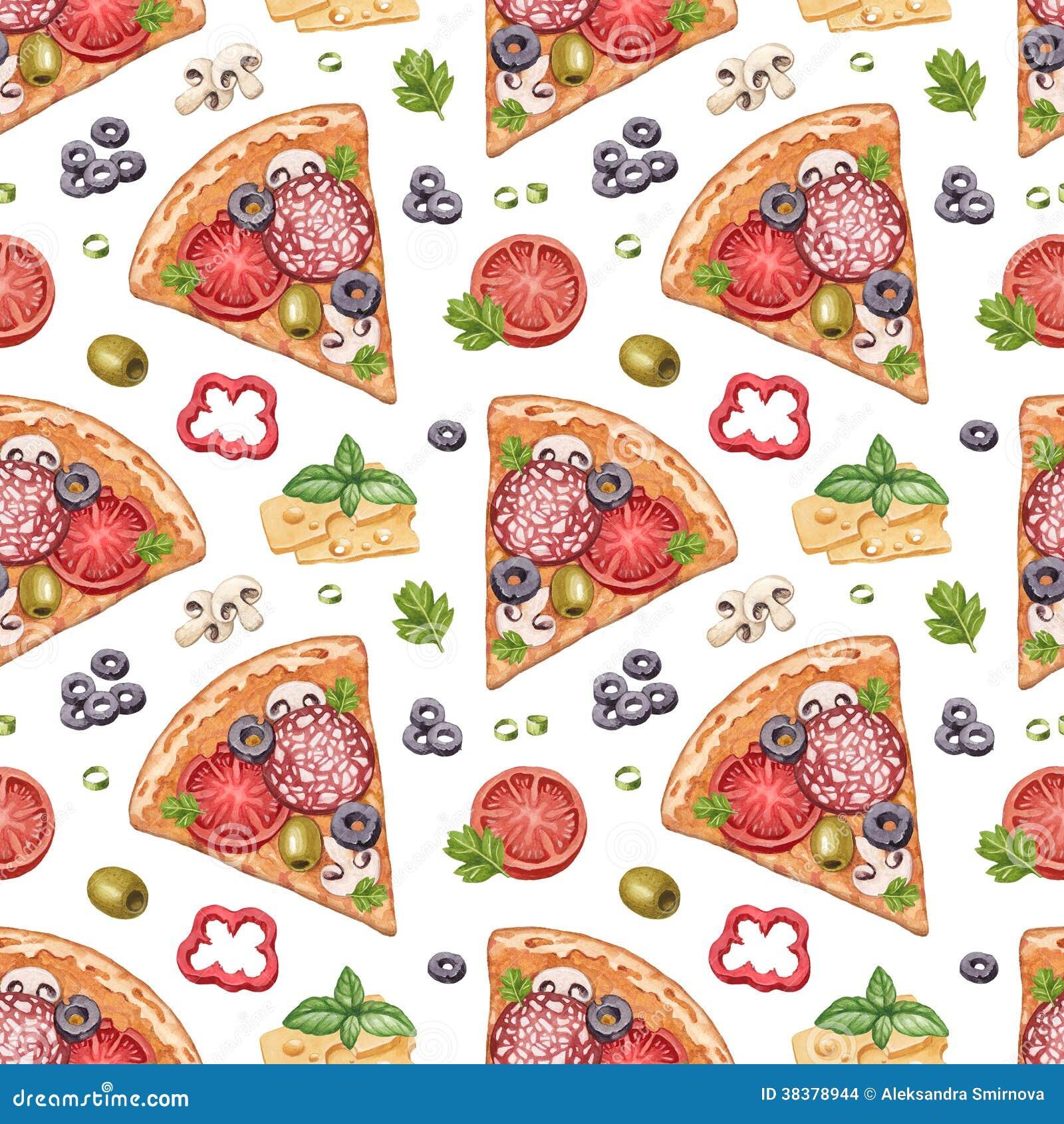Modello senza cuciture con le illustrazioni della pizza