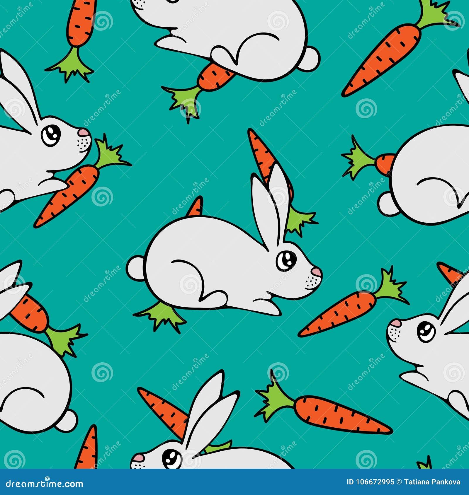 Modello senza cuciture con le lepri e le carote adorabili disegnate a mano