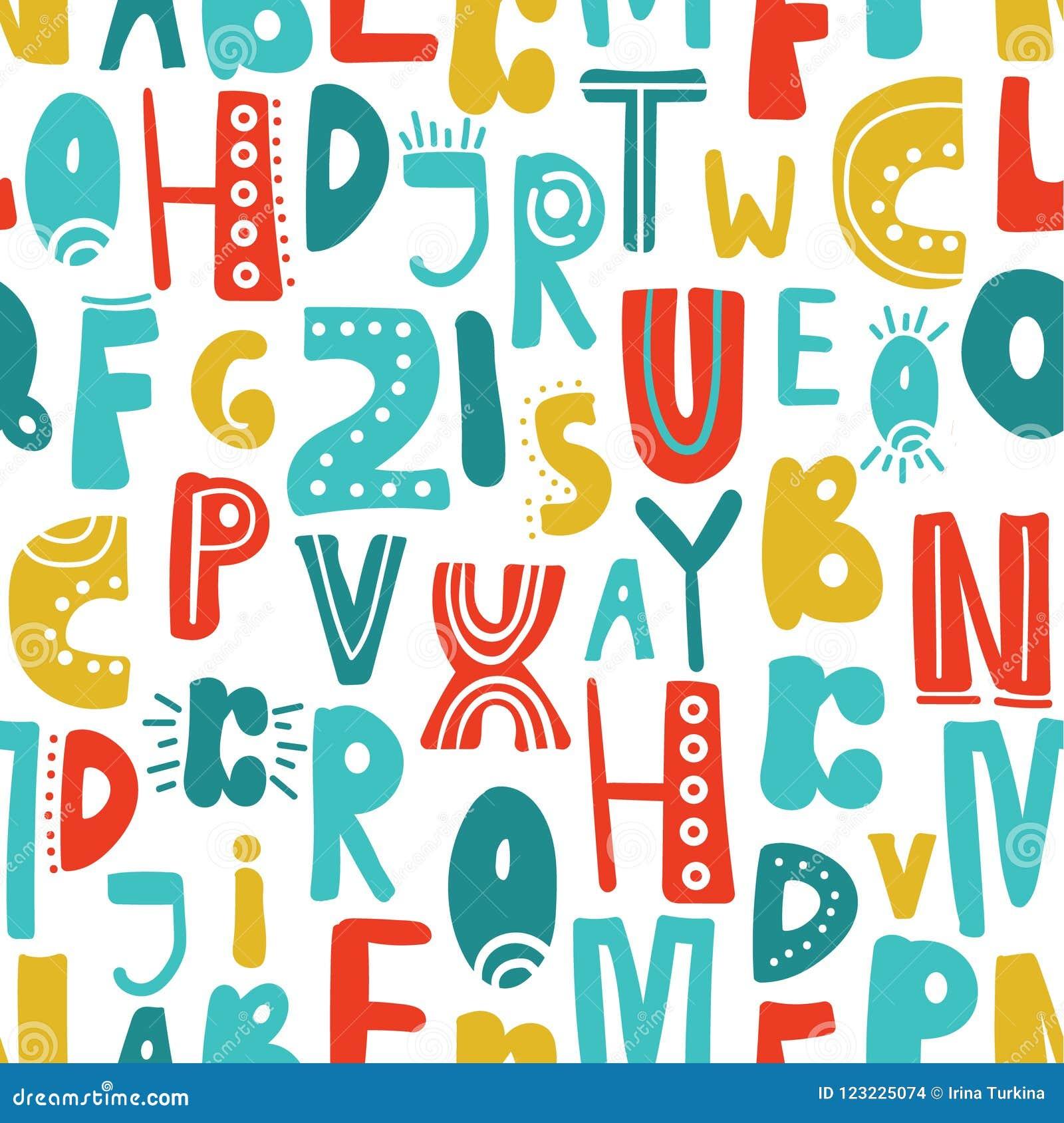 Modello senza cuciture con le lettere latine