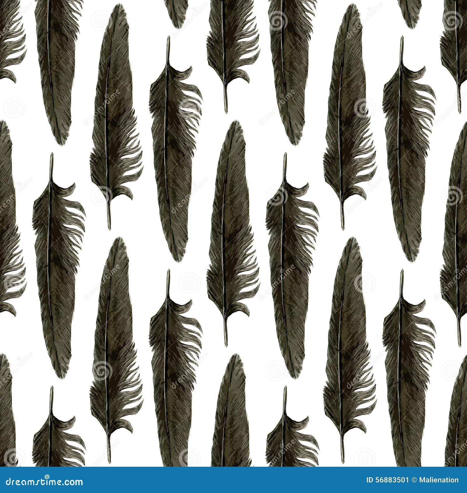 Modello senza cuciture con le piume nere dell acquerello Piuma nera del corvo illustrazione realistica di vettore