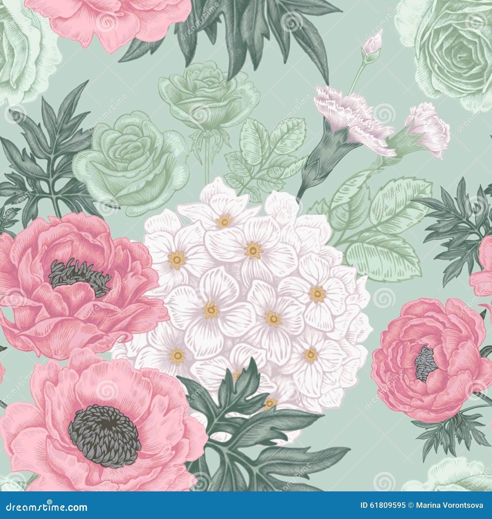 Quadri Con Ortensie : Modello senza cuciture con le rose dei fiori peonie