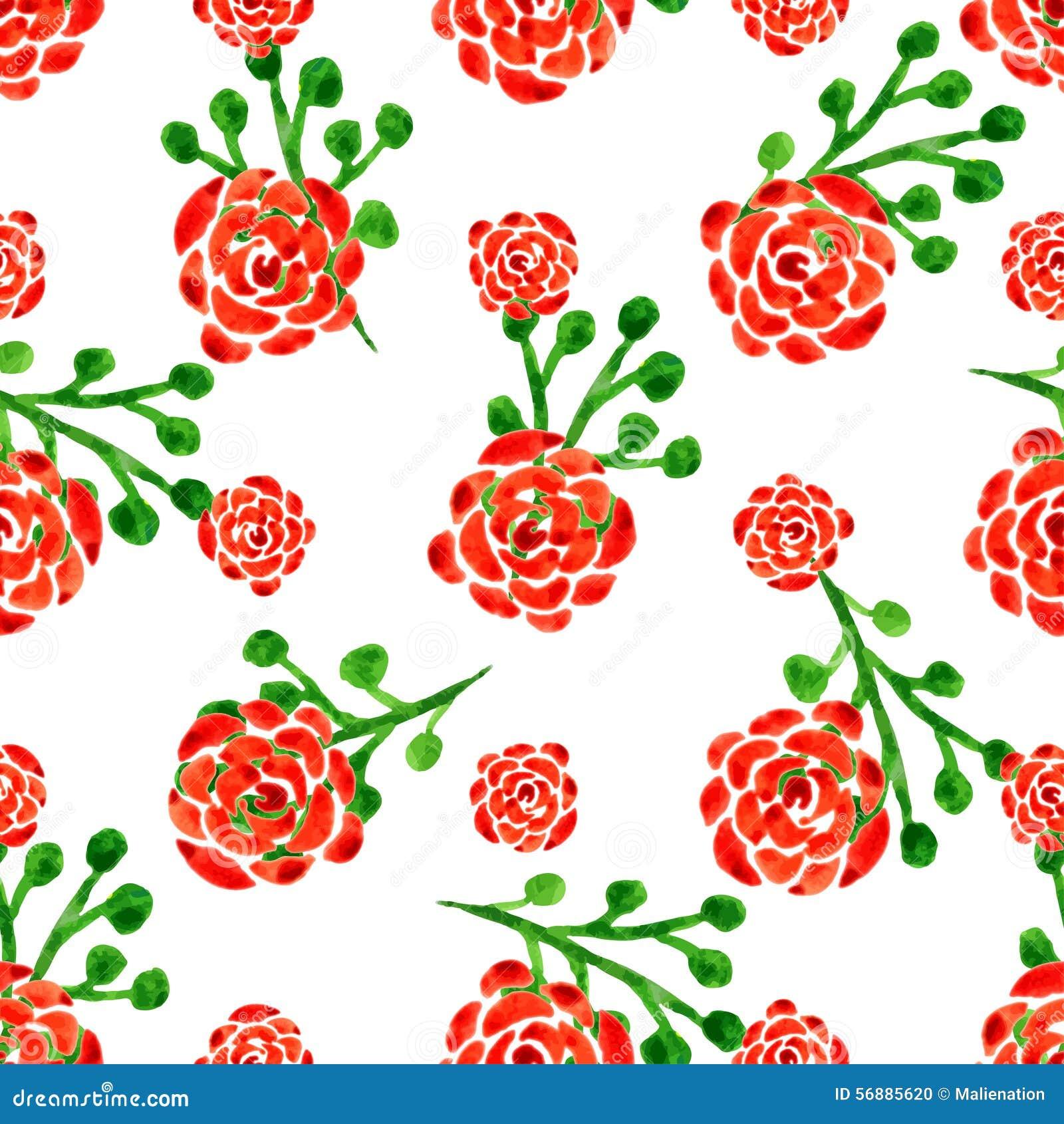 Modello senza cuciture con le rose dell acquerello Illustrazione di vettore con i fiori rossi Priorità bassa floreale