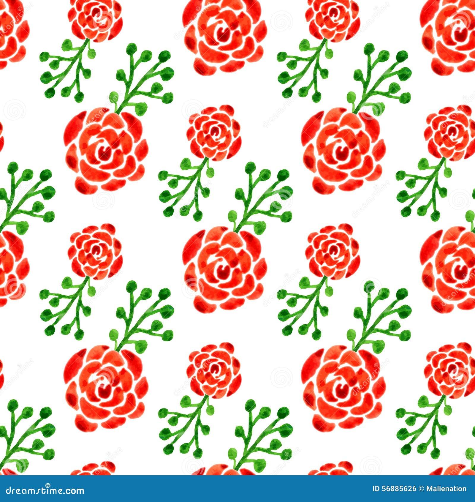 Modello senza cuciture con le rose dell acquerello Illustrazione di vettore Fondo floreale per la pagina Web, invito di nozze