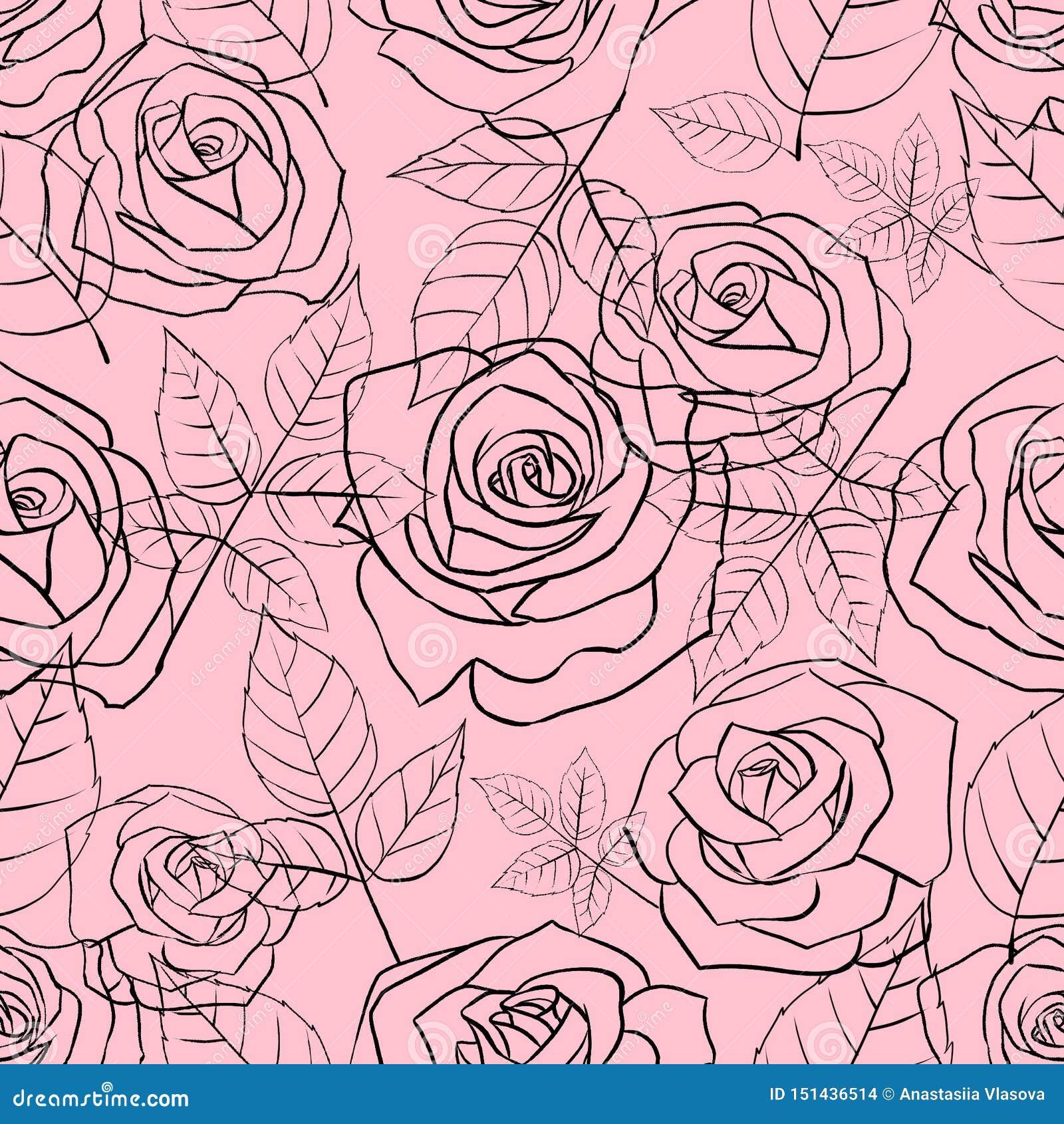 Modello senza cuciture con le rose e le foglie lineari delicate su un fondo rosa