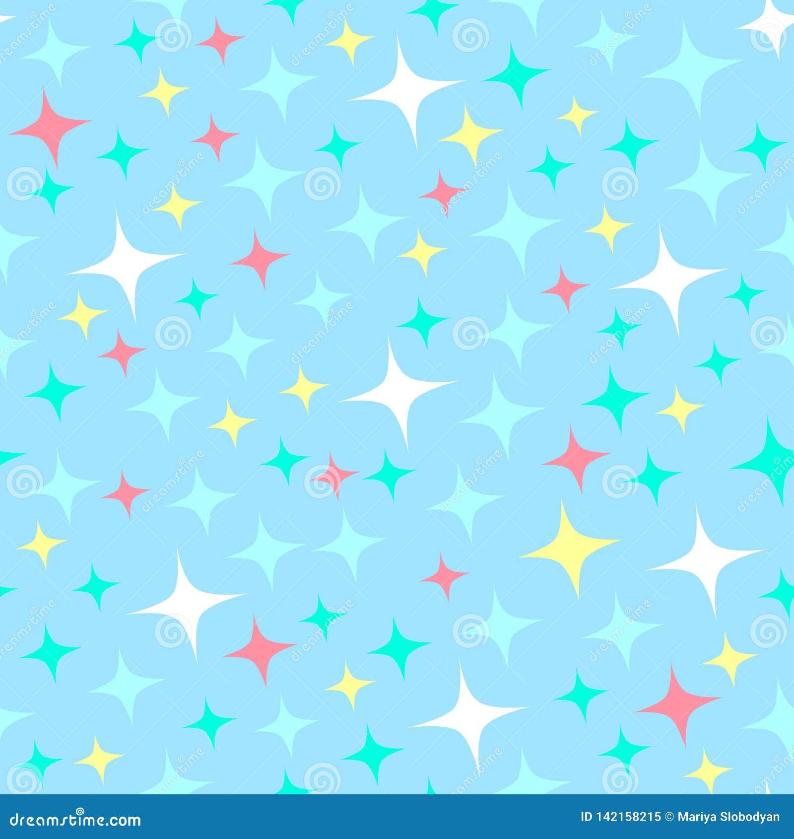 Modello senza cuciture con le scintille della luce stellare, stelle di scintillio Priorità bassa blu brillante Lustro astratto, c