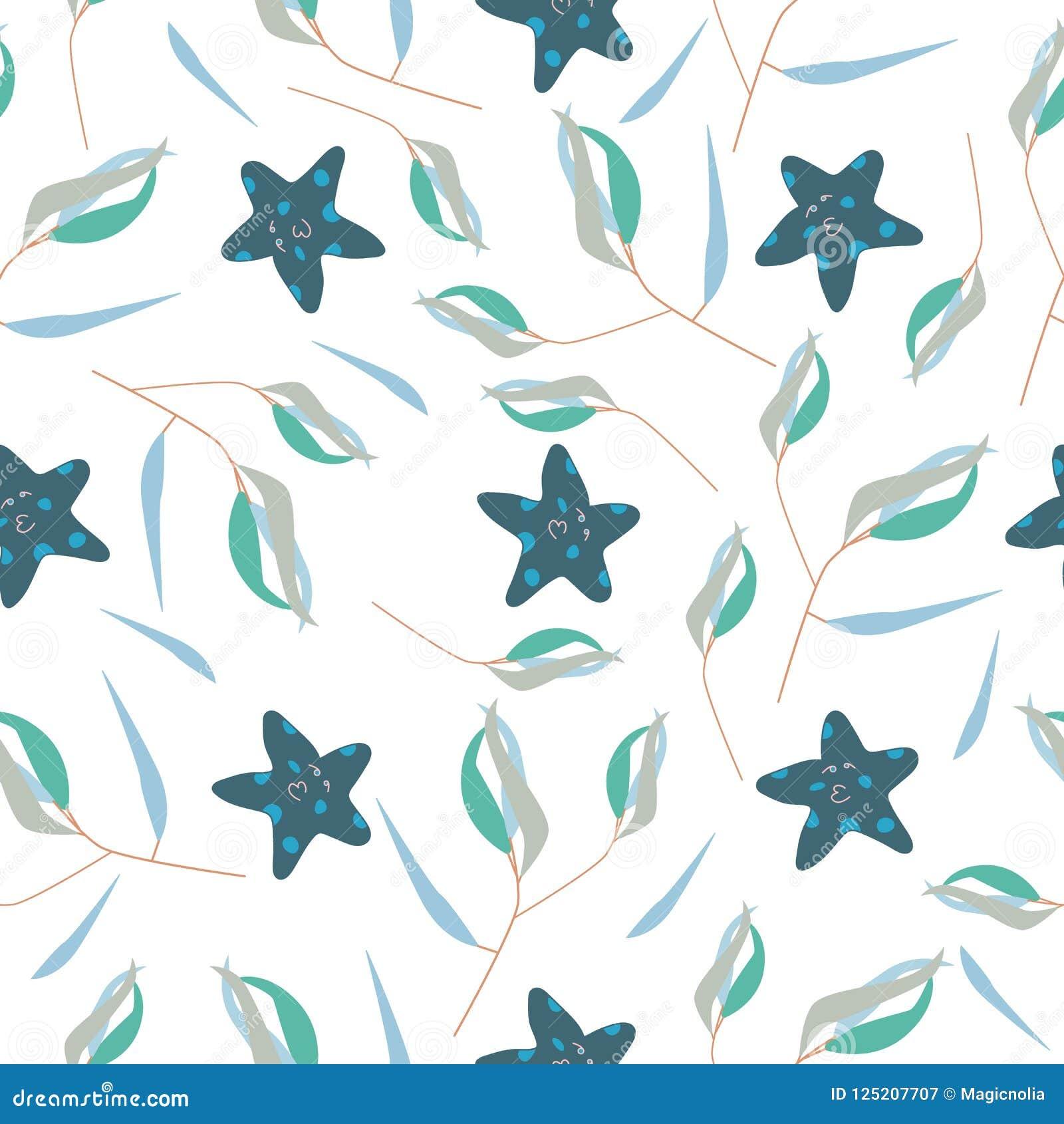 Modello senza cuciture con le stelle marine e l alga su fondo bianco come tessuto, tessuto, vestiti Illustrazione di vettore