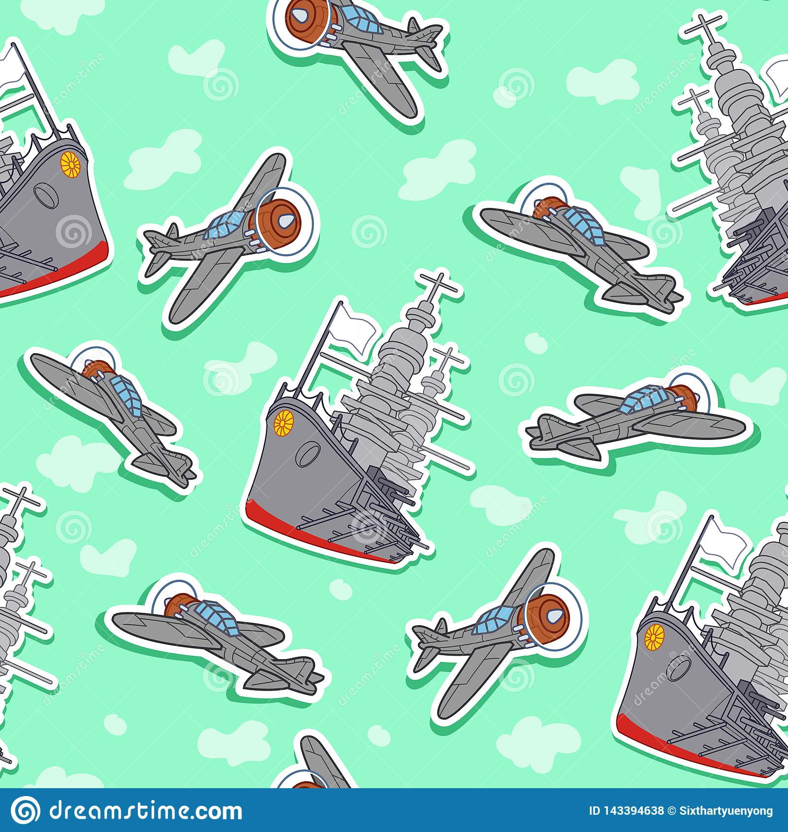 Modello senza cuciture degli aerei e della nave da guerra