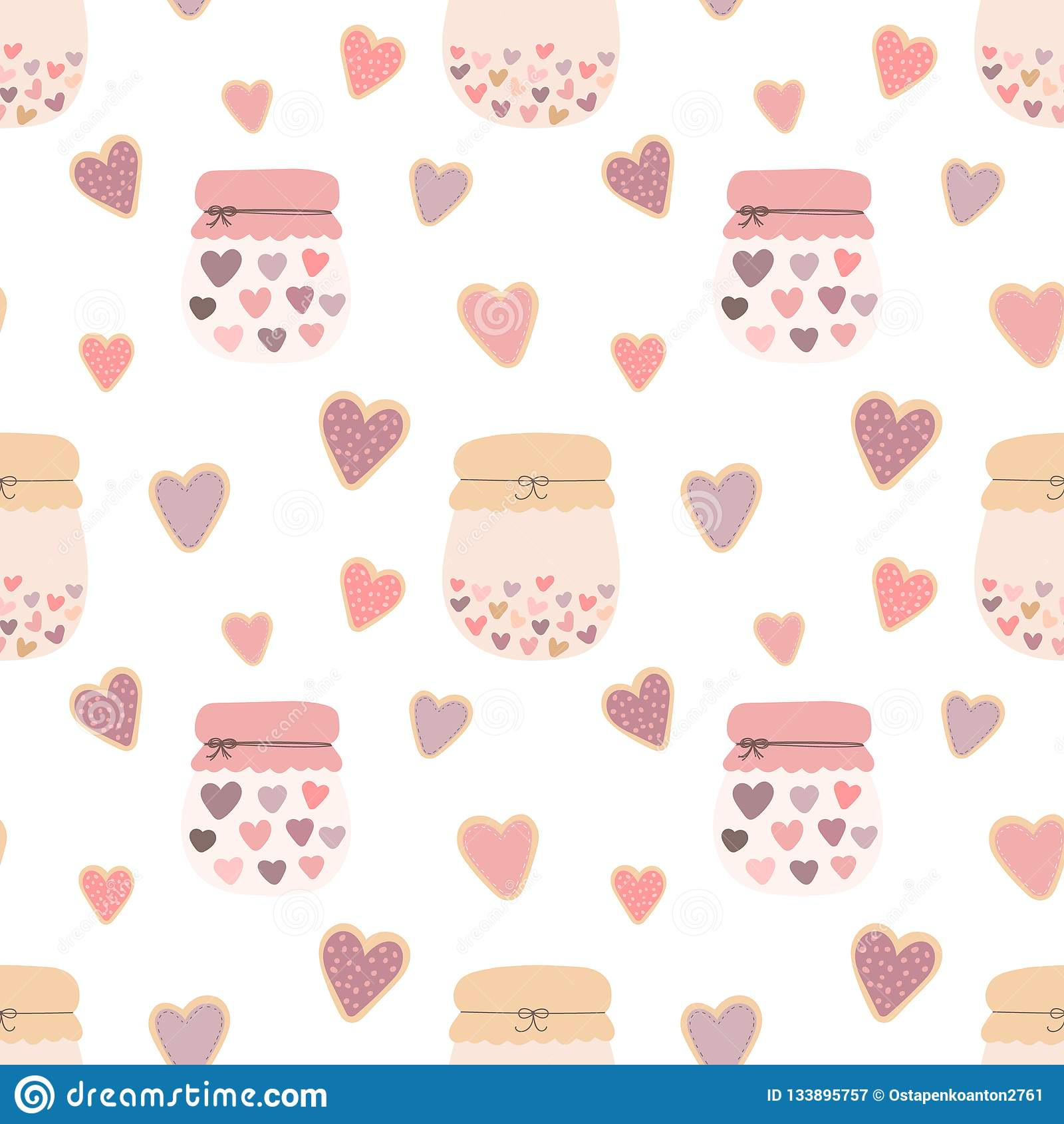 Modello senza cuciture dei biscotti dei cuori di forma di amore, barattoli di inceppamento su un fondo leggero Immagine di vettor
