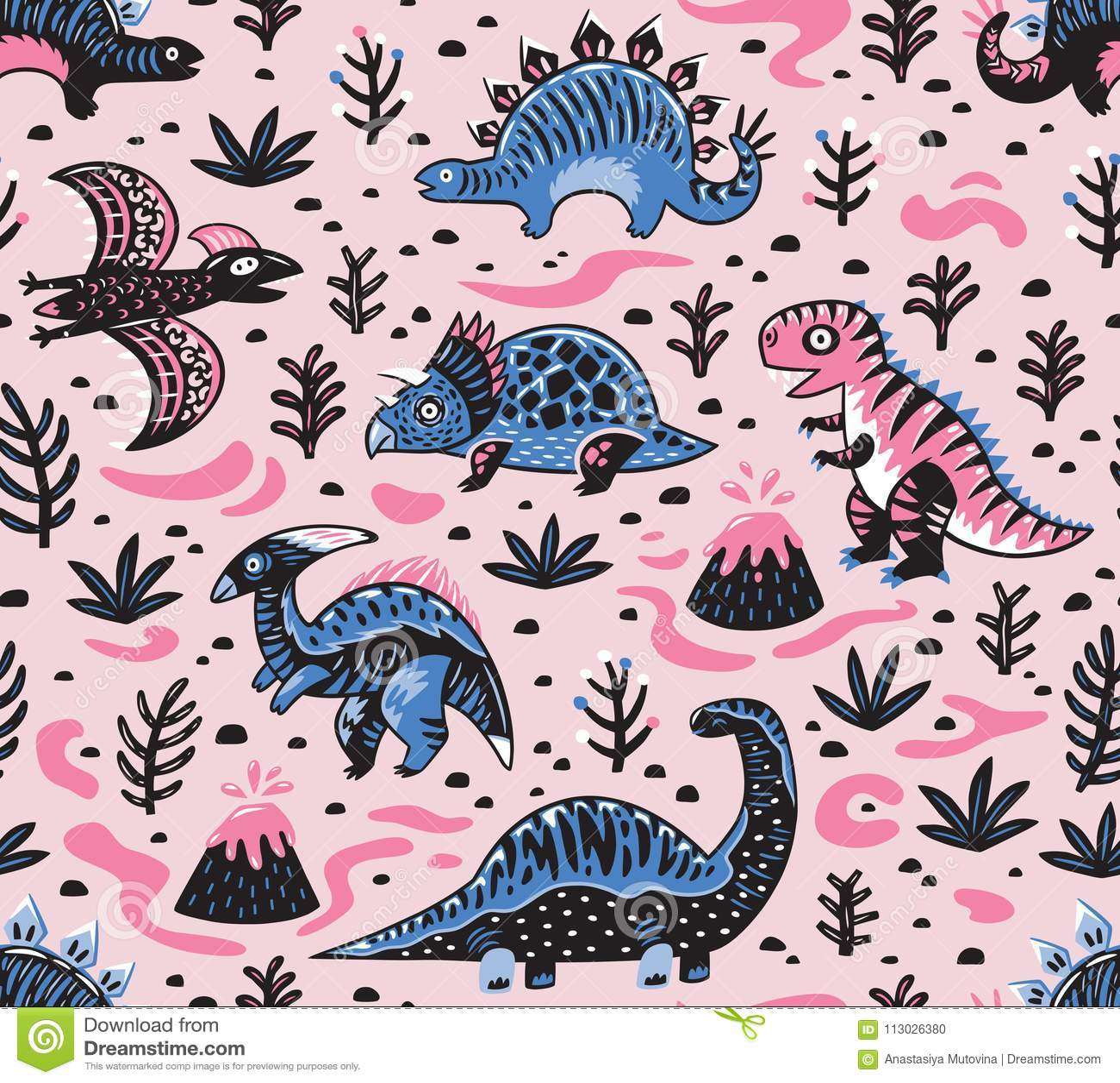 Modello senza cuciture dei dinosauri svegli del fumetto nei colori rosa e blu Illustrazione di vettore