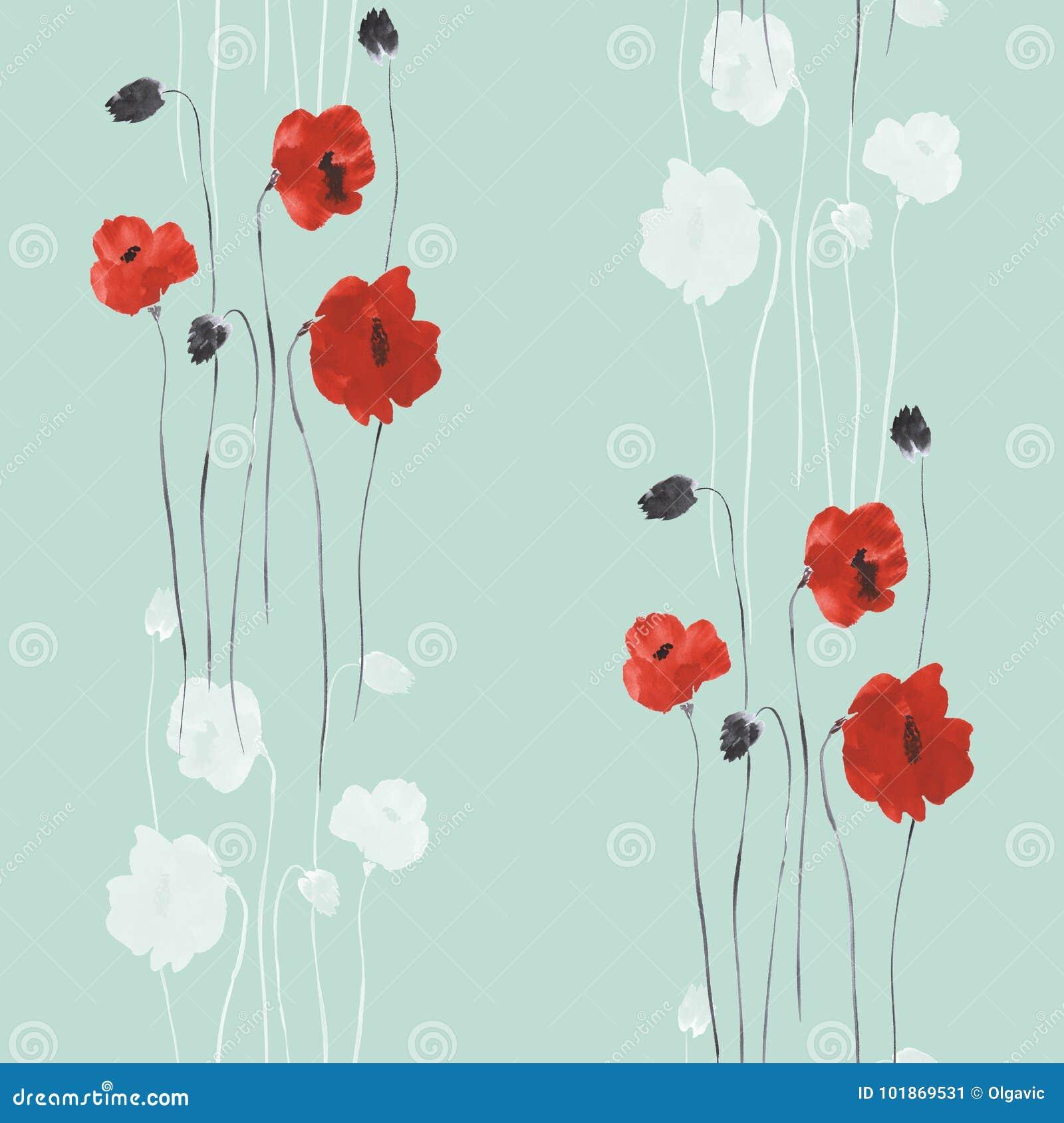 Modello senza cuciture dei fiori rossi dei papaveri su un fondo verde watercolor