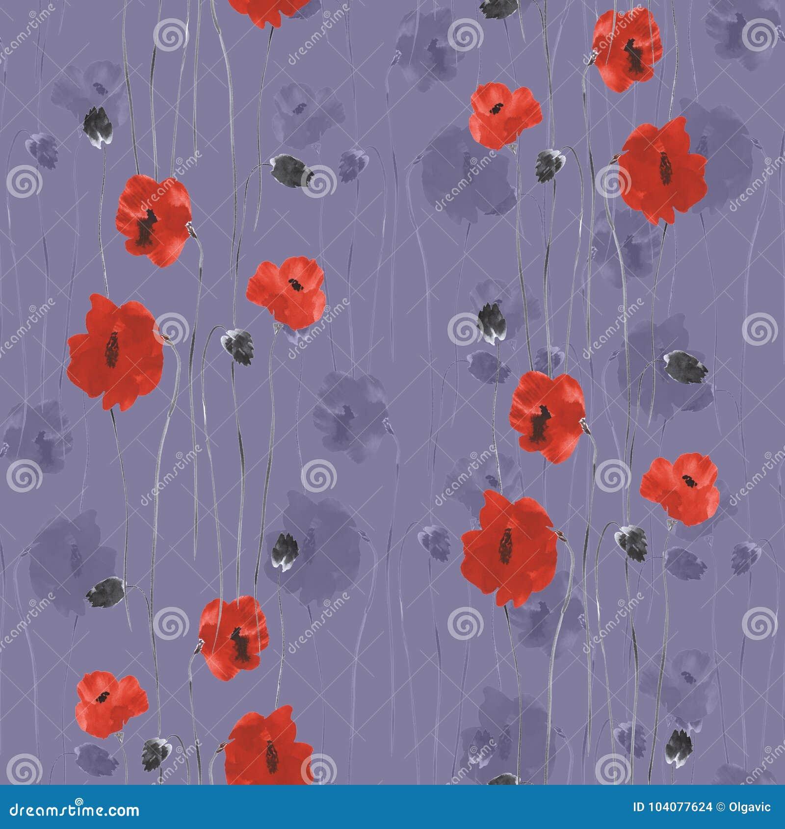 Modello senza cuciture dei fiori rossi dei papaveri su un fondo violetto-scuro watercolor