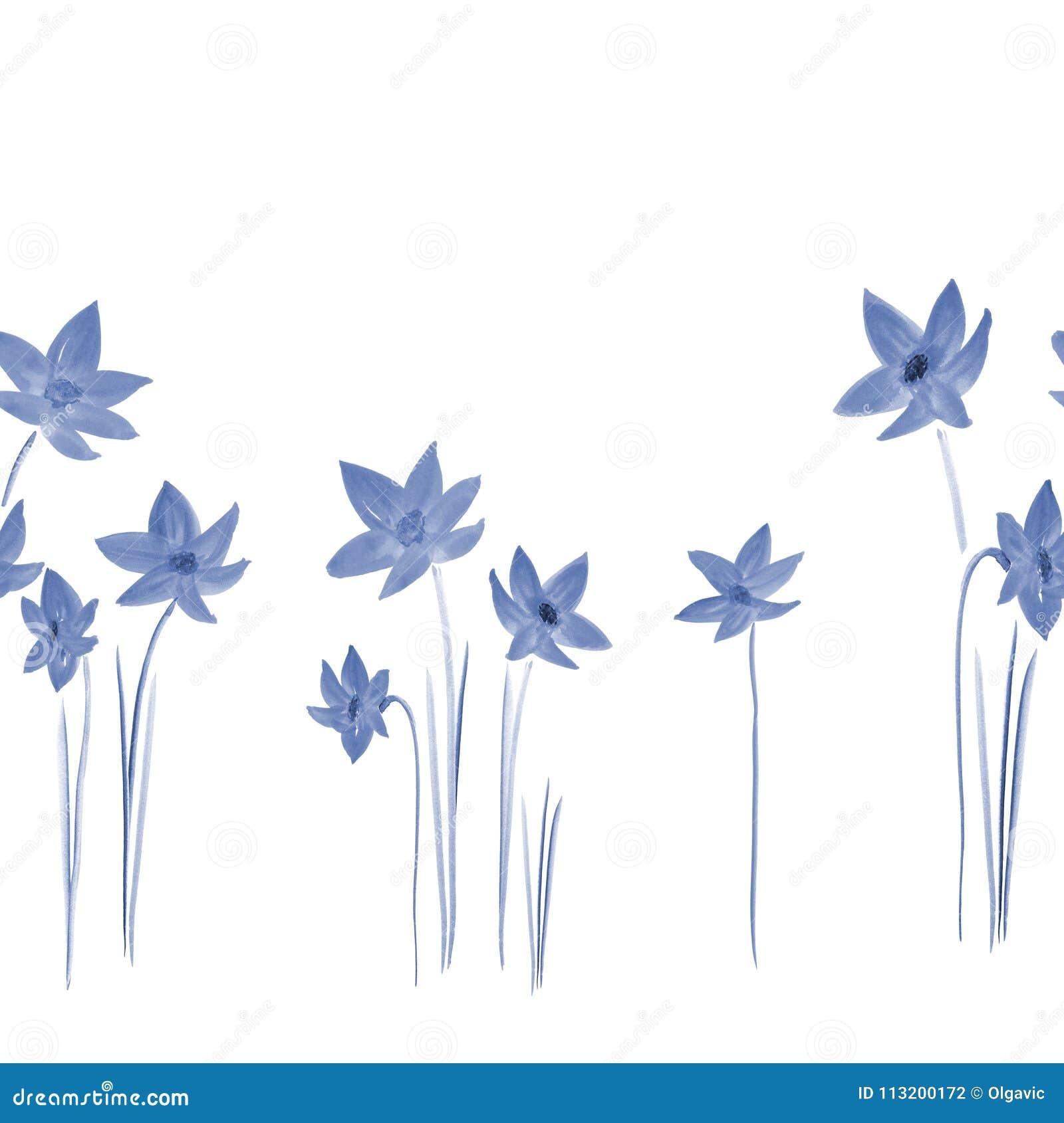 Modello senza cuciture dei narcisi blu selvatici su un fondo bianco watercolor