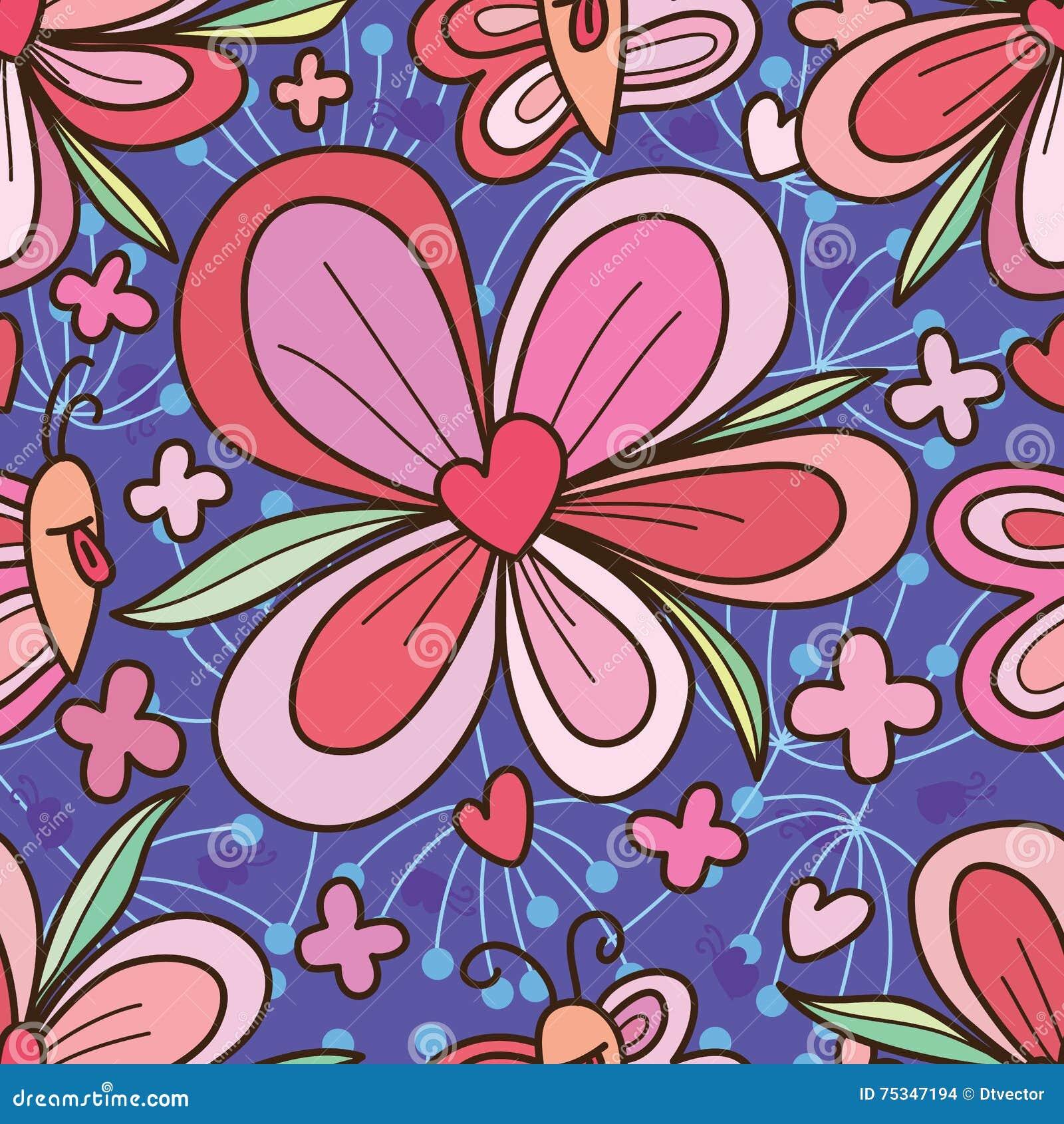 Modello senza cuciture del cuore di amore del fiore di - Modello di base del fiore ...