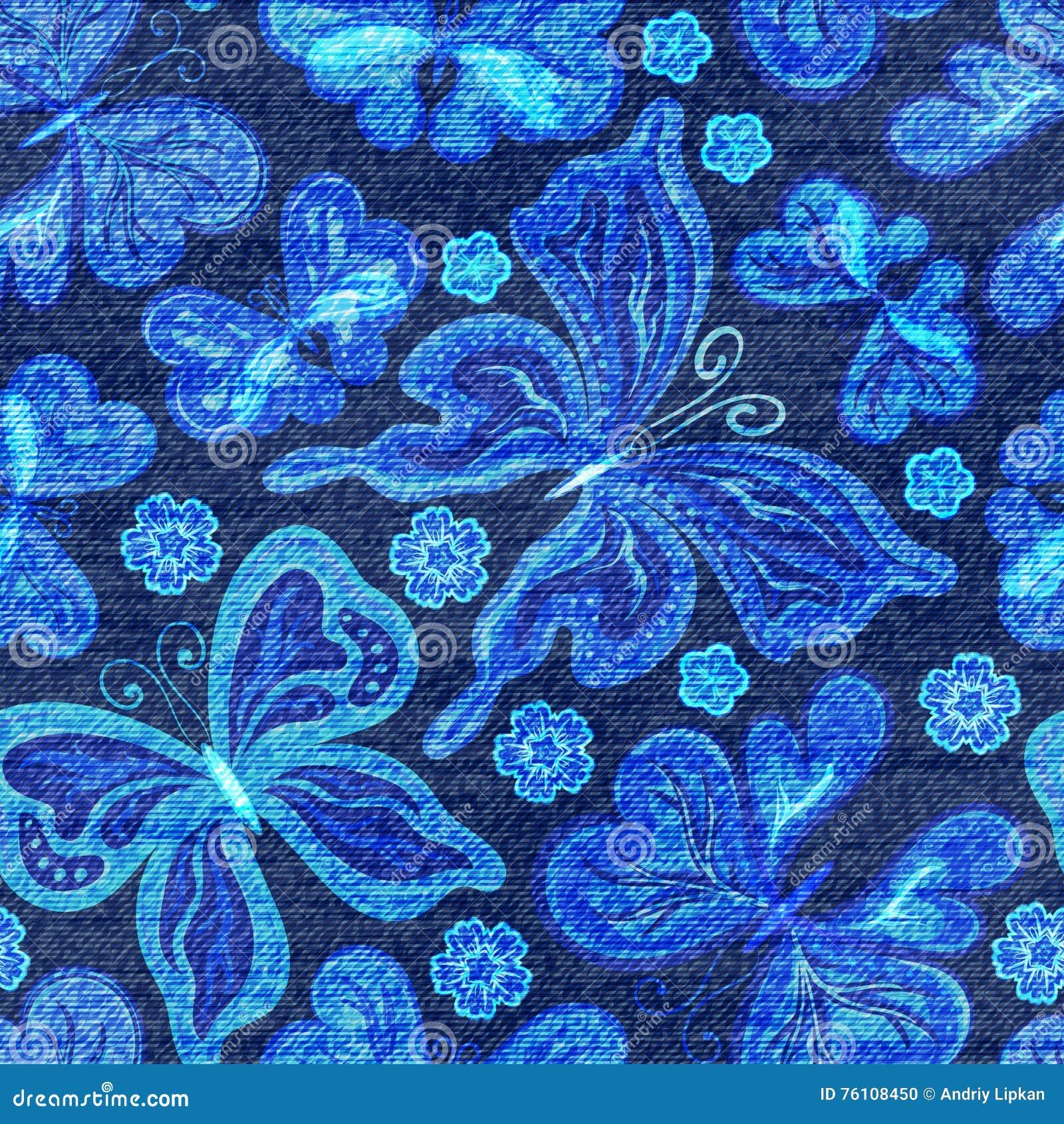 Modello senza cuciture del denim di vettore Fondo dei jeans con le farfalle Priorità bassa del panno delle blue jeans
