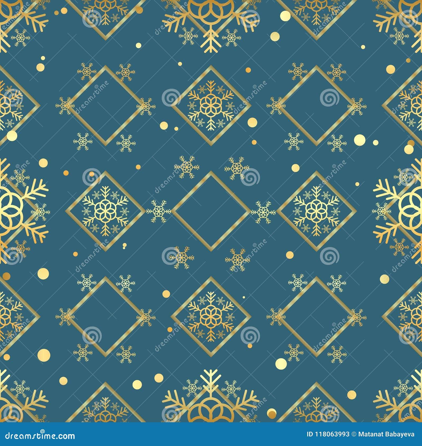 Modello senza cuciture del fiocco di neve dell oro di Natale Fiocchi di neve dorati sul fondo blu del rombo Carta da parati di st