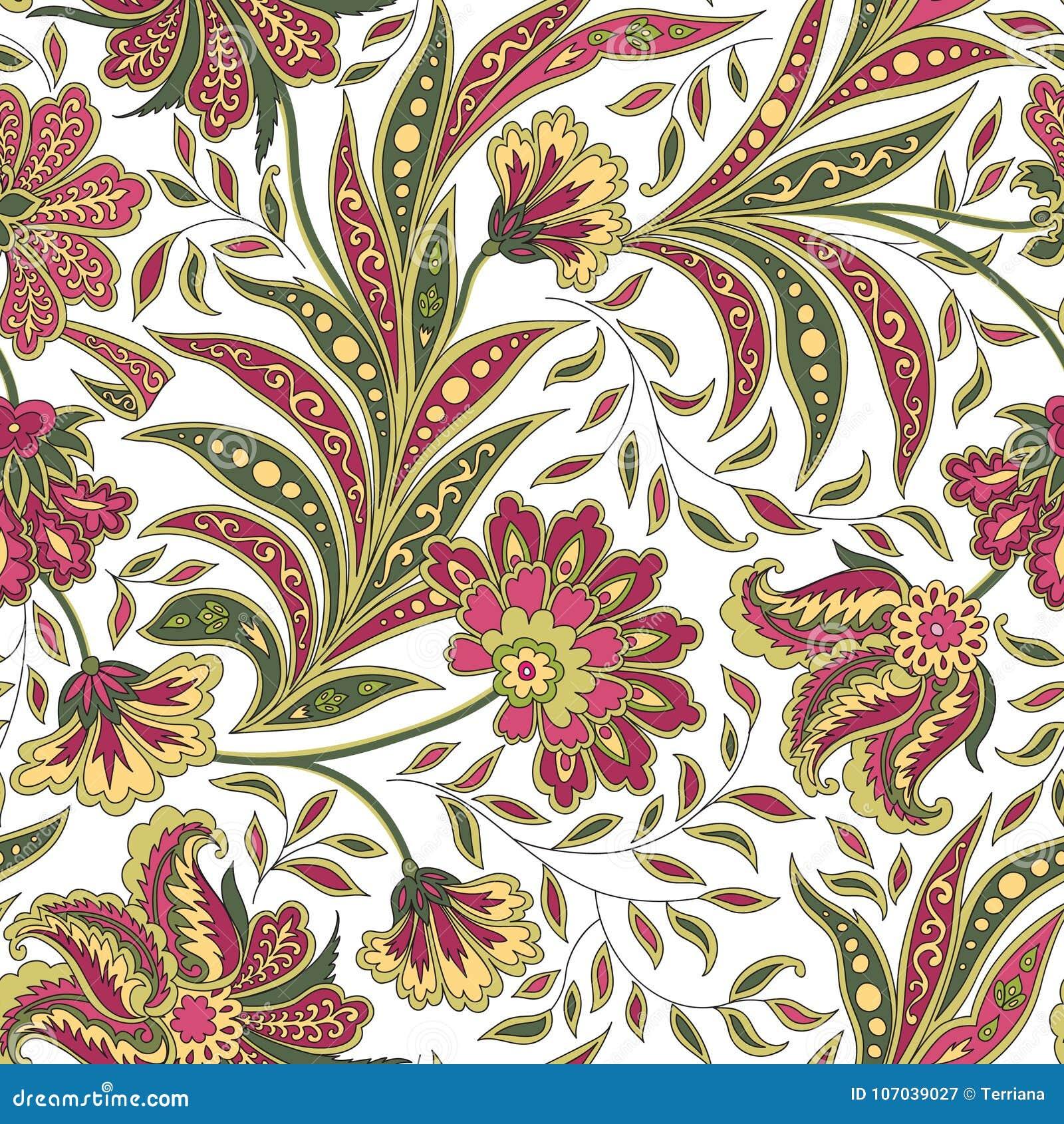 Modello senza cuciture del fiore e della foglia floreale Ramo astratto con le foglie