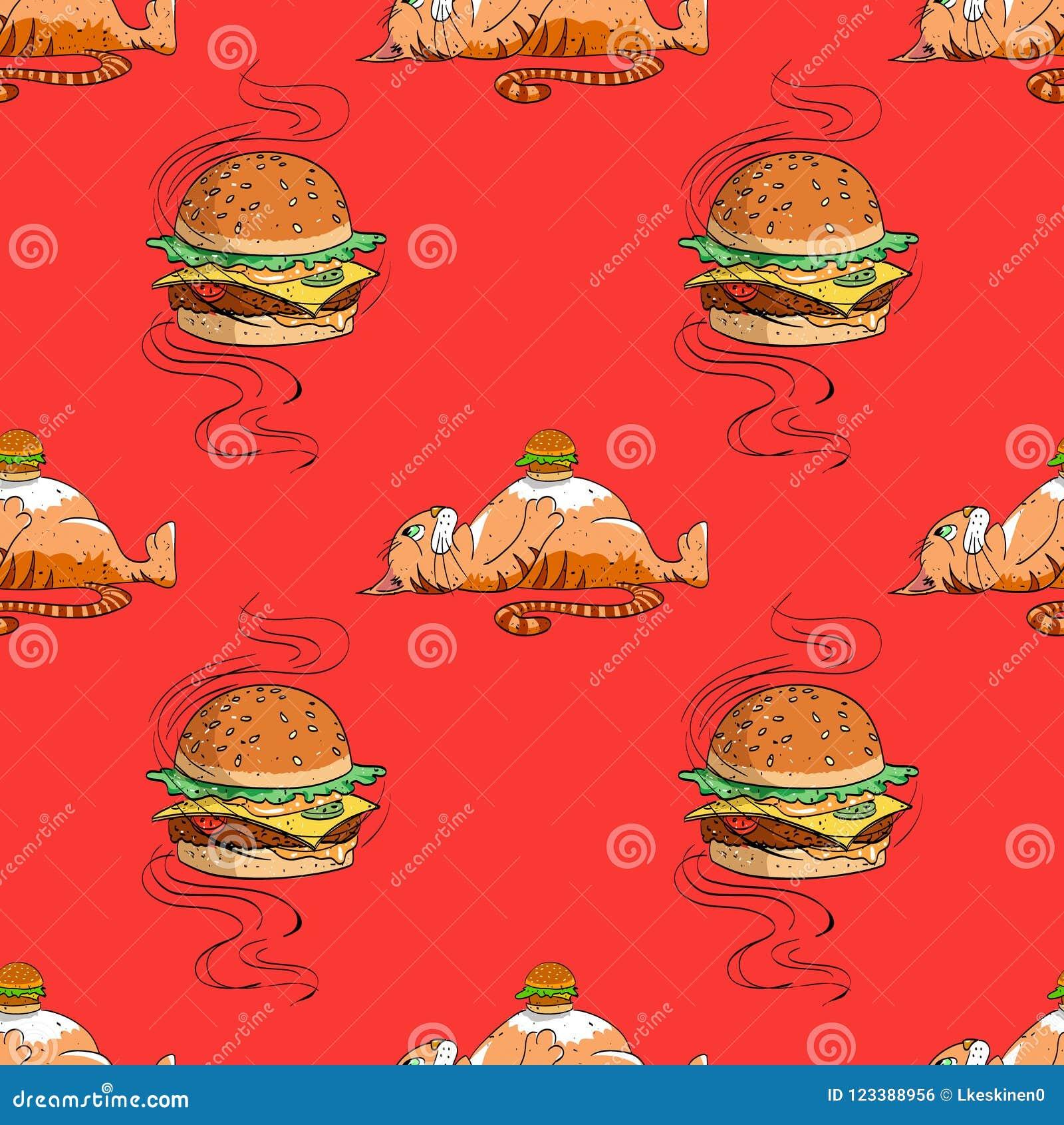 Modello senza cuciture del gatto grasso e dell hamburger enorme