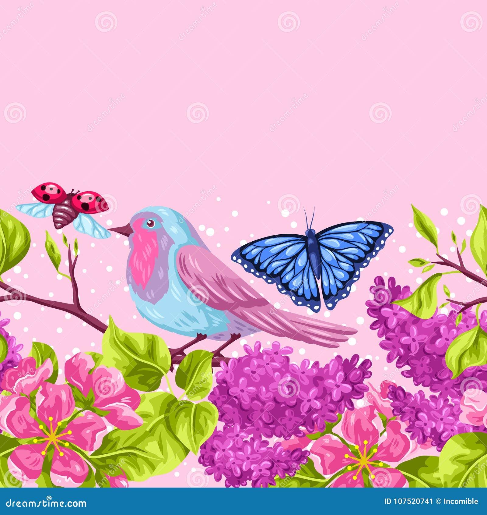 Modello senza cuciture del giardino della primavera - Modello di base del fiore ...