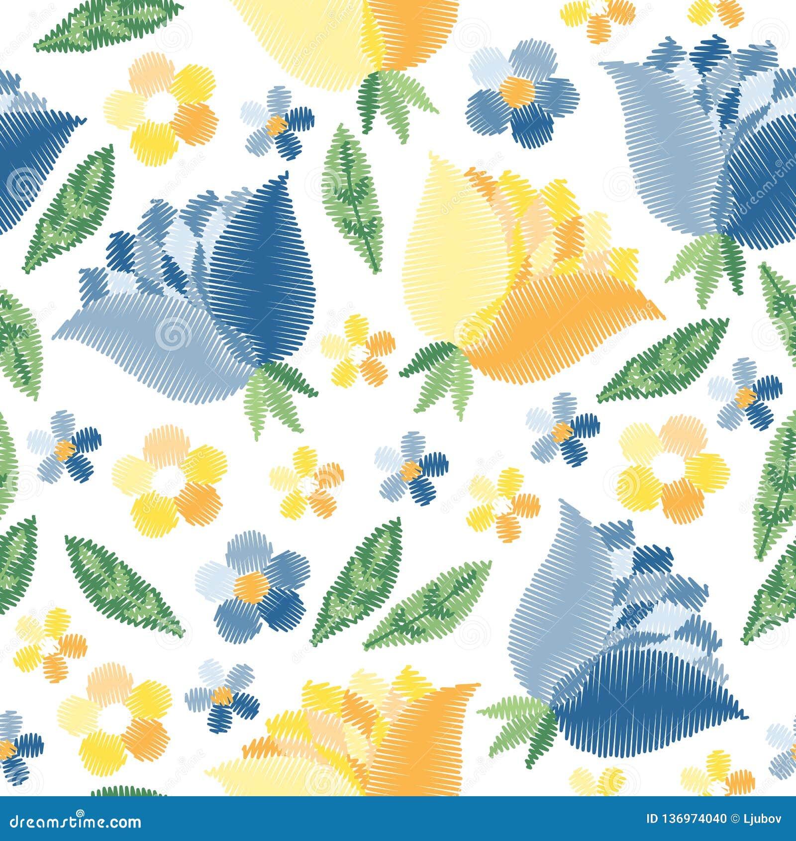 Modello senza cuciture del ricamo con i fiori blu e gialli su fondo bianco Progettazione di modo per tessuto, tessuto, carta da i