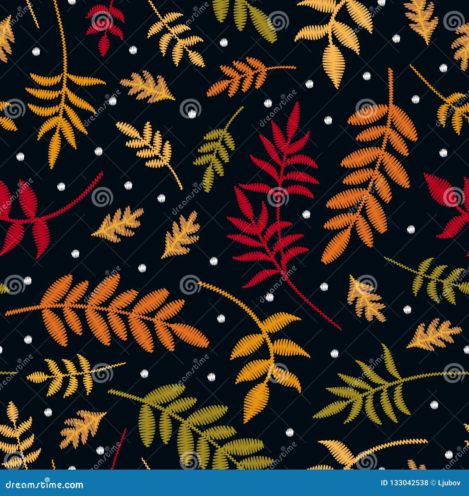 Modello senza cuciture del ricamo con le foglie di autunno in colori differenti e primi fiocchi di neve Piante ricamate variopint