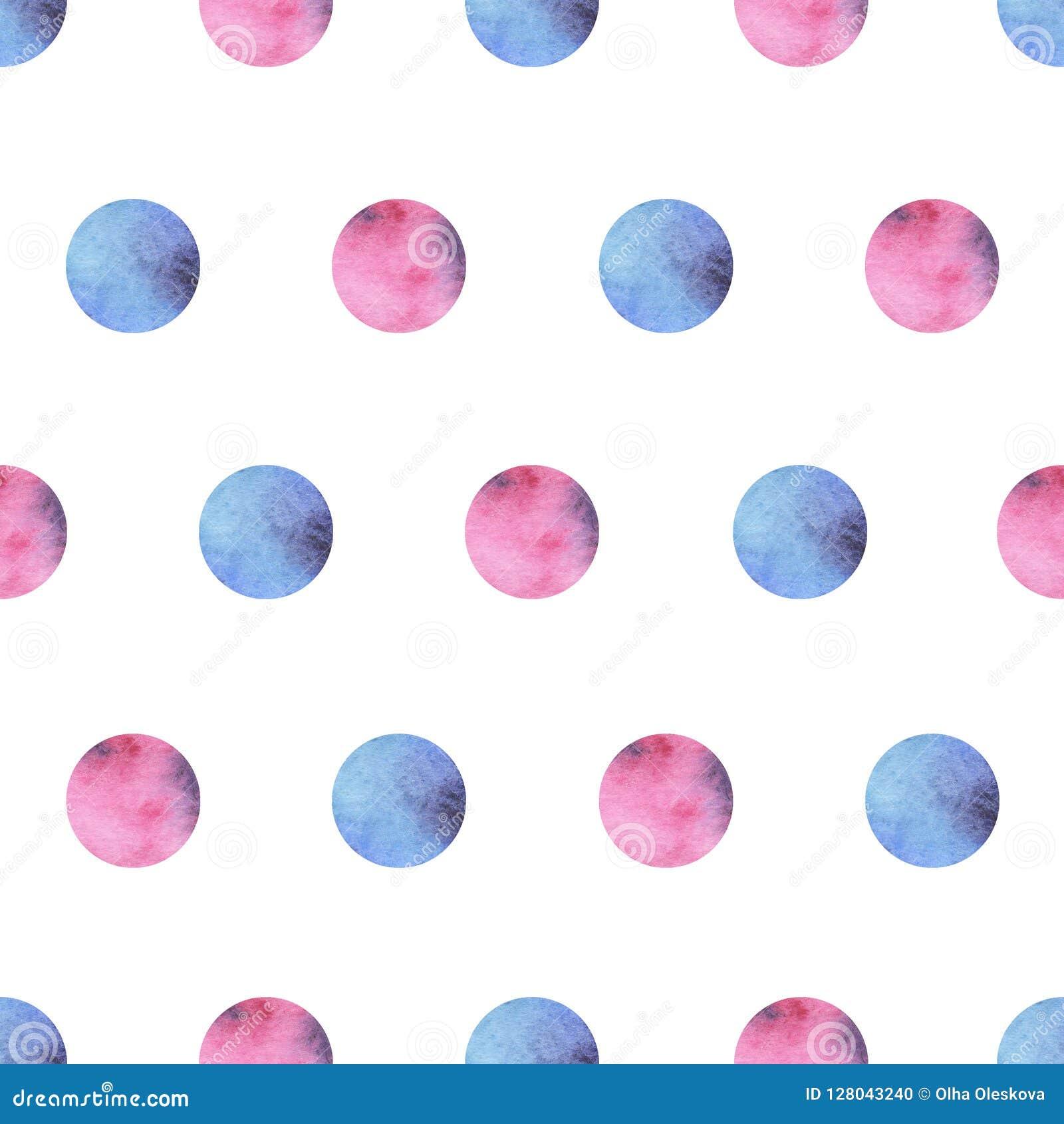 Modello senza cuciture dell acquerello con i cerchi rosa e blu