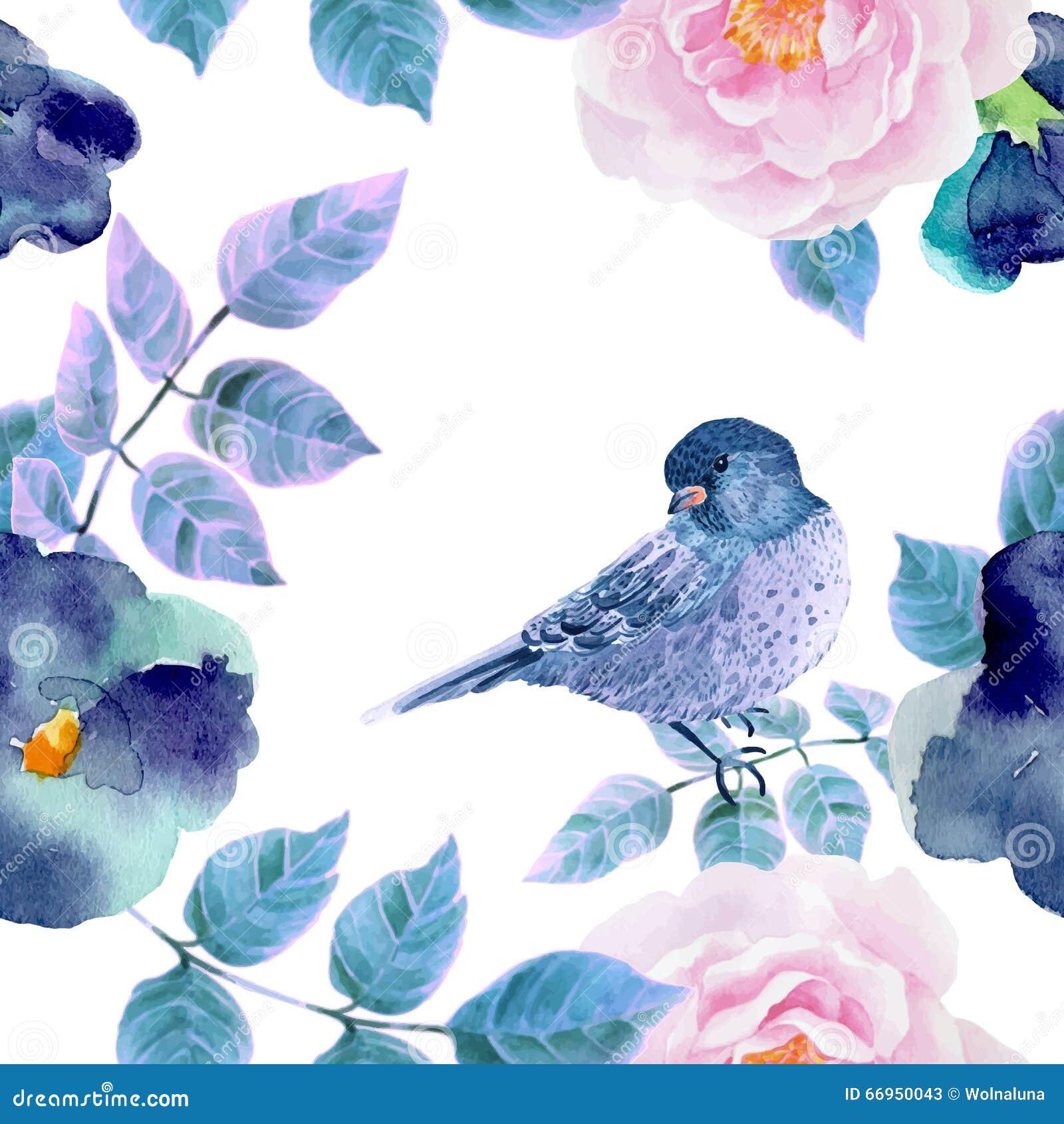 Modello senza cuciture dell acquerello con i fiori e gli uccelli