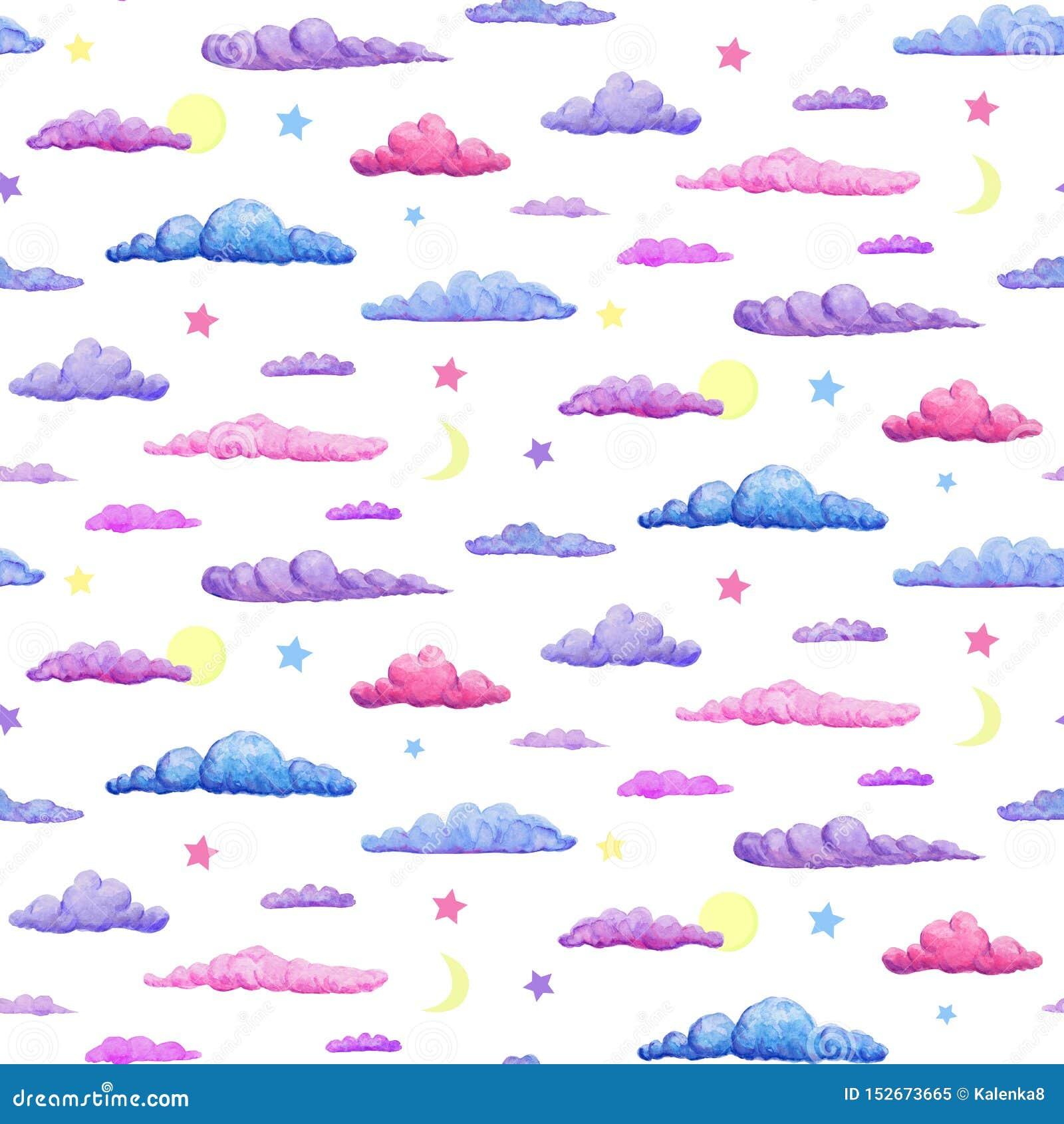 Modello senza cuciture dell acquerello del rosa porpora delicato e delle nuvole blu nuvole pastelli con le stelle mezzaluna e lun