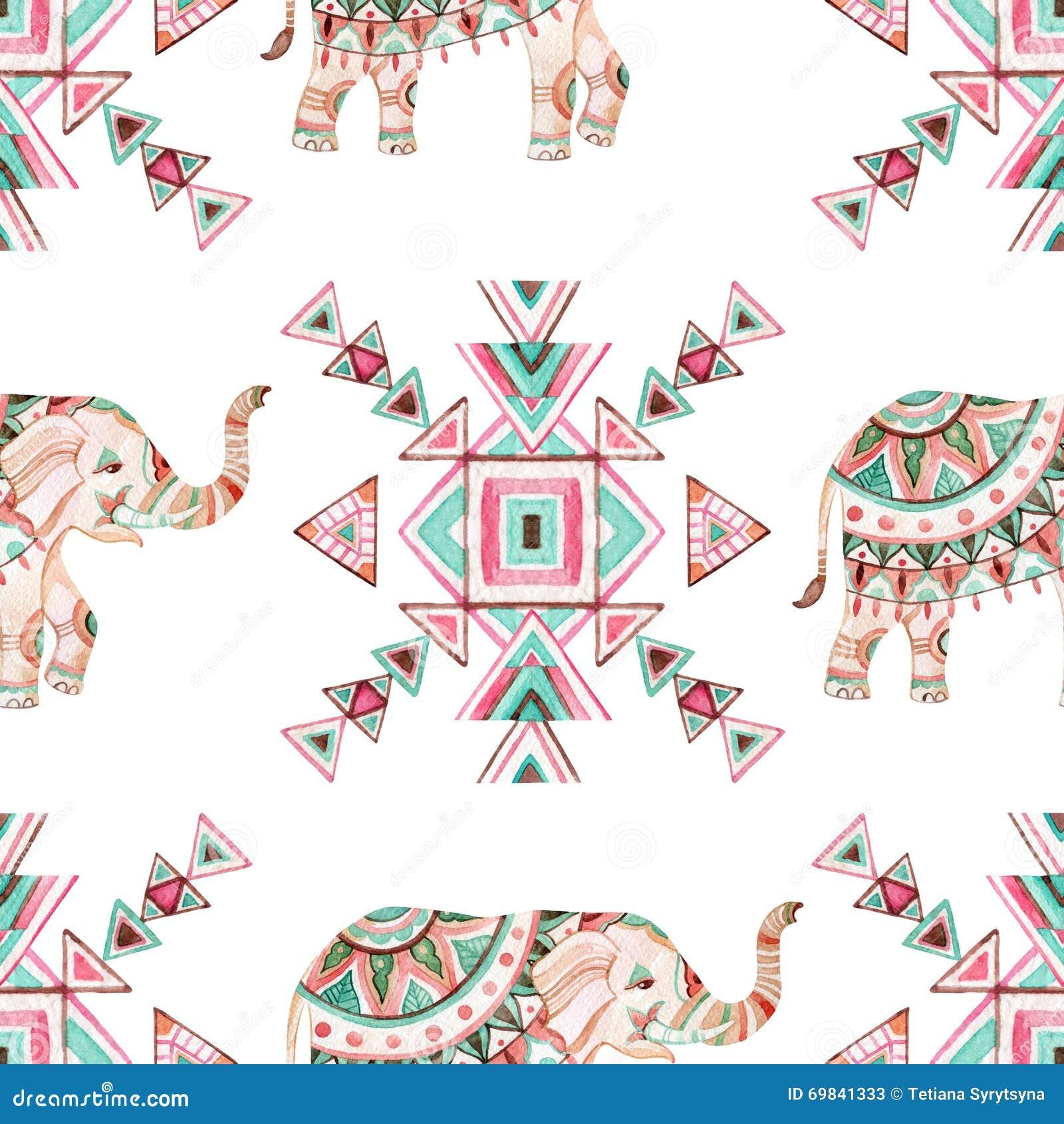 Modello senza cuciture dell 39 acquerello dell 39 elefante - Elefante foglio di colore dell elefante ...