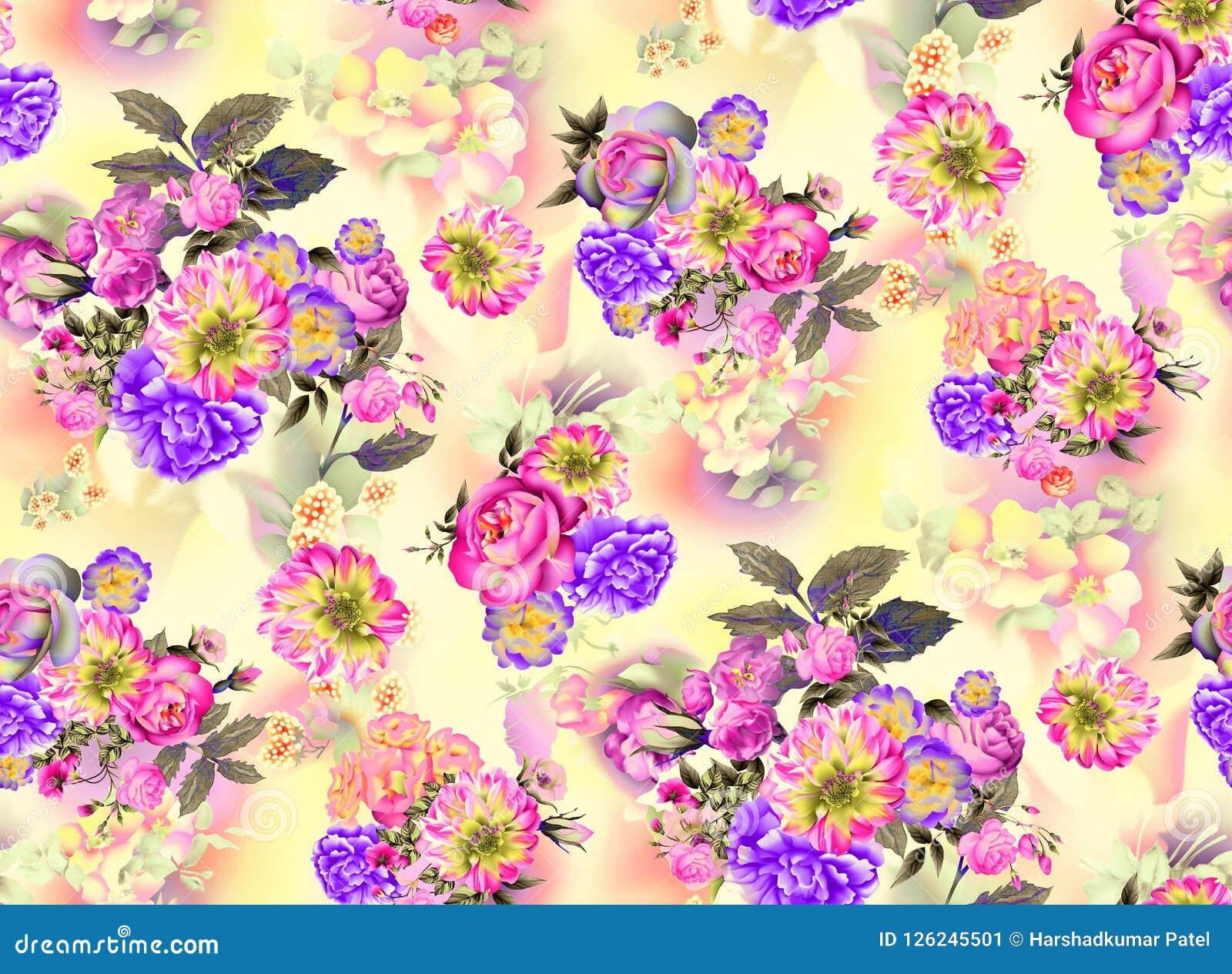 Modello senza cuciture dell acquerello delle rose del giardino di estate e dei fiori dell iride su fondo giallo