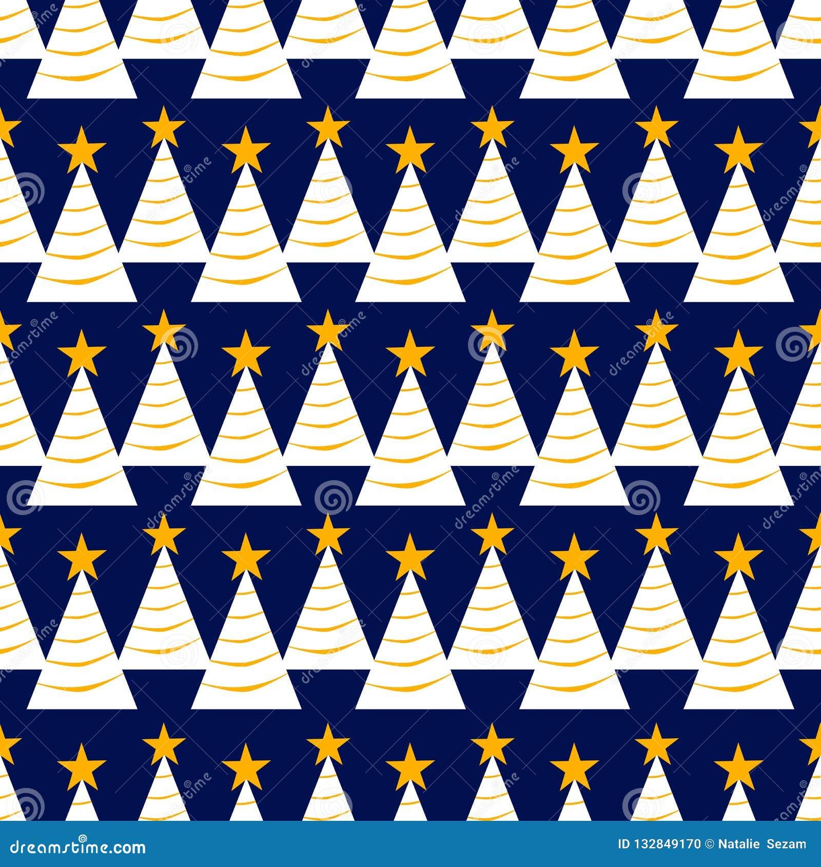 Modello senza cuciture dell albero di Natale con le stelle e la ghirlanda struttura di ripetizione per carta da imballaggio, nata
