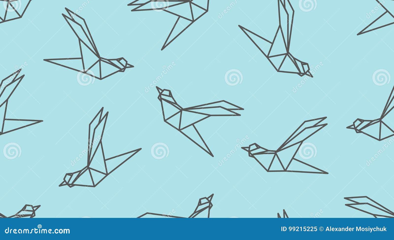 Modello senza cuciture dell uccello del profilo di origami