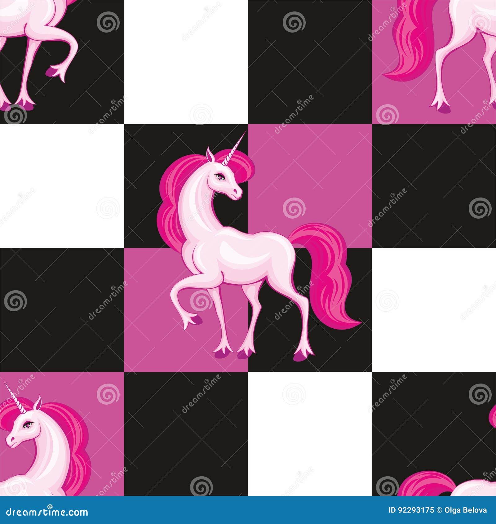 Modello senza cuciture dell unicorno rosa