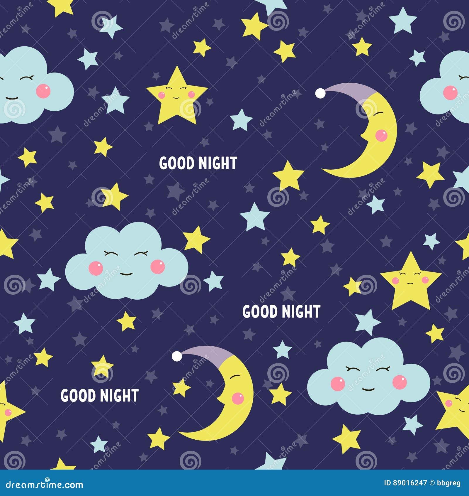 Modello Senza Cuciture Della Buona Notte Con La Luna Le Stelle E Le