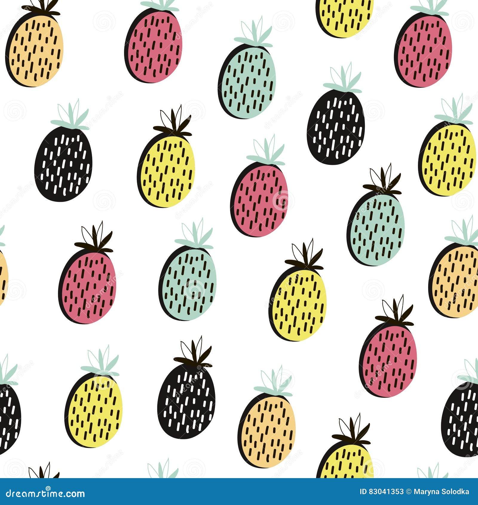 Modello Senza Cuciture Della Frutta Moderna Fondo Con L Ananas