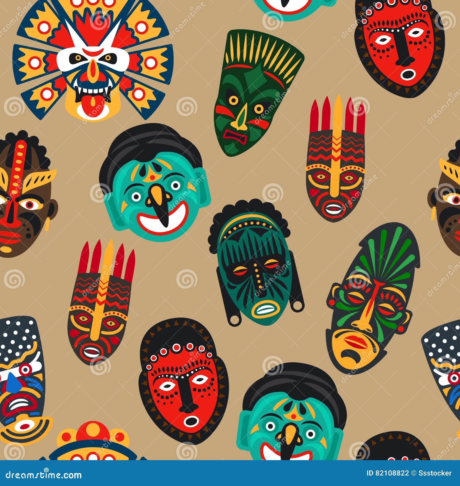 Modello senza cuciture della maschera africana
