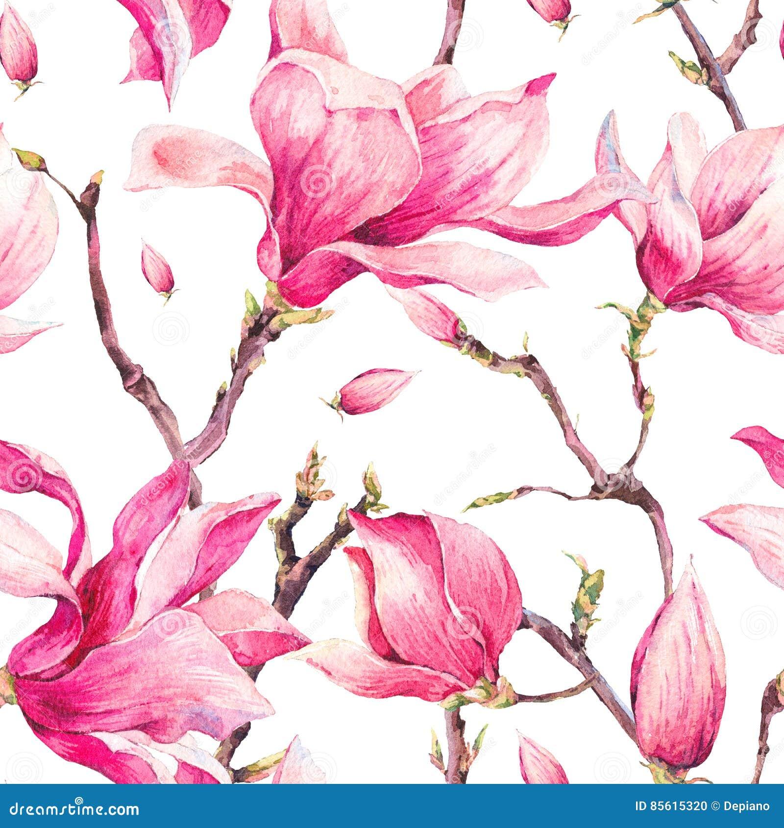 Modello senza cuciture della primavera floreale dell acquerello con la magnolia