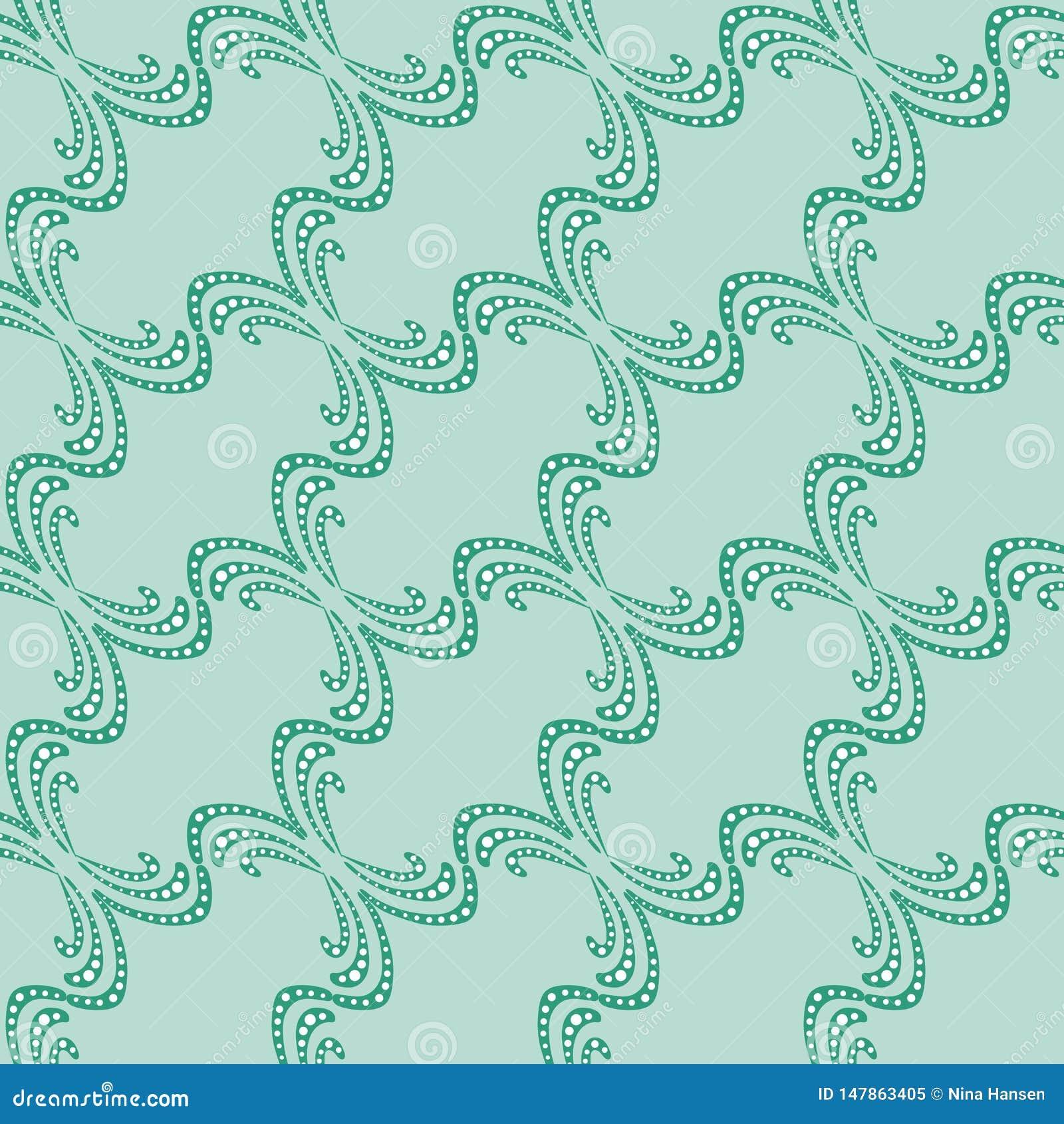 Modello senza cuciture delle linee decorative verdi su un fondo della menta