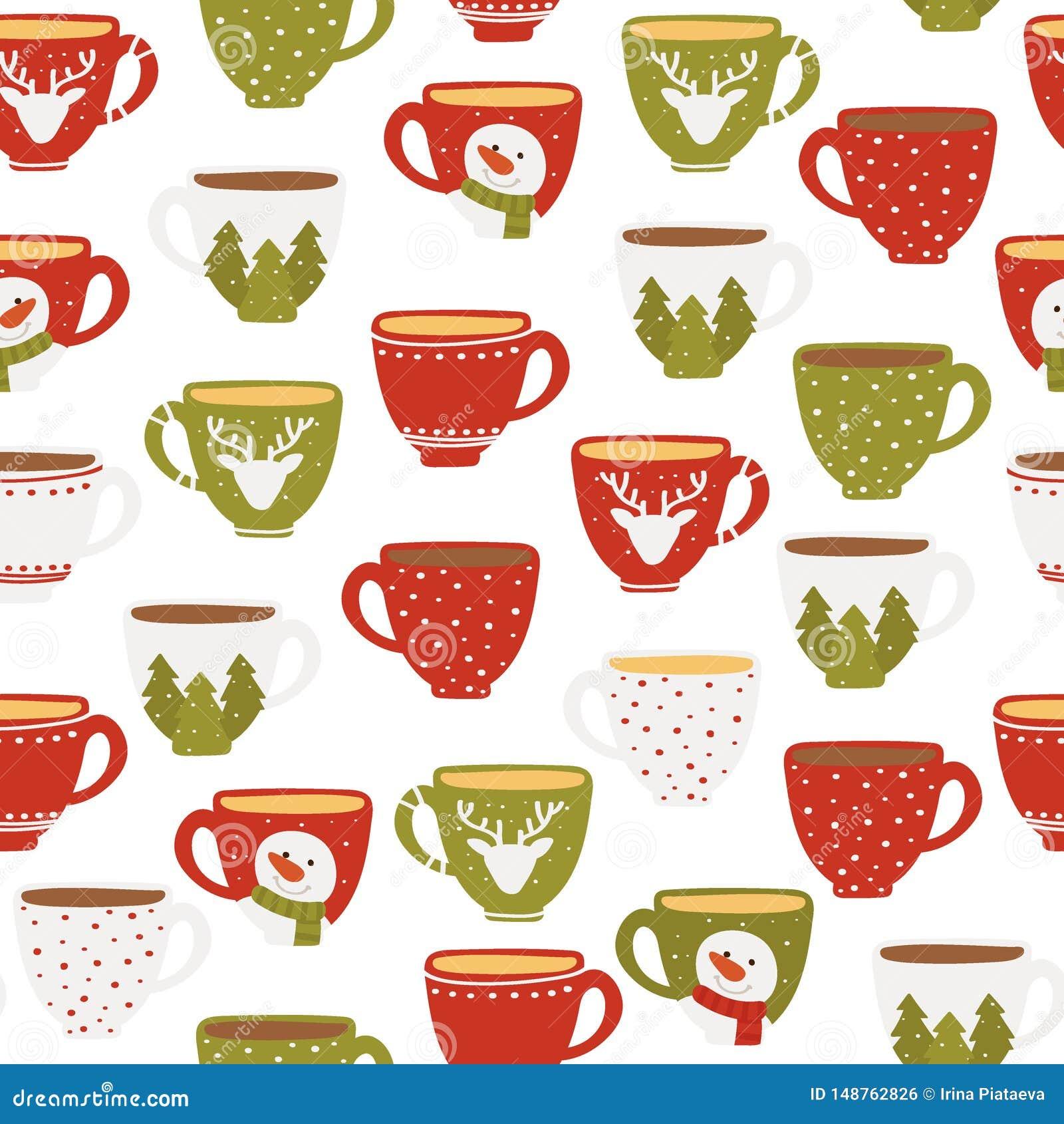 Modello senza cuciture delle tazze divertenti su un fondo bianco Tazze di Natale Illustrazione di vettore di stile piano disegnat