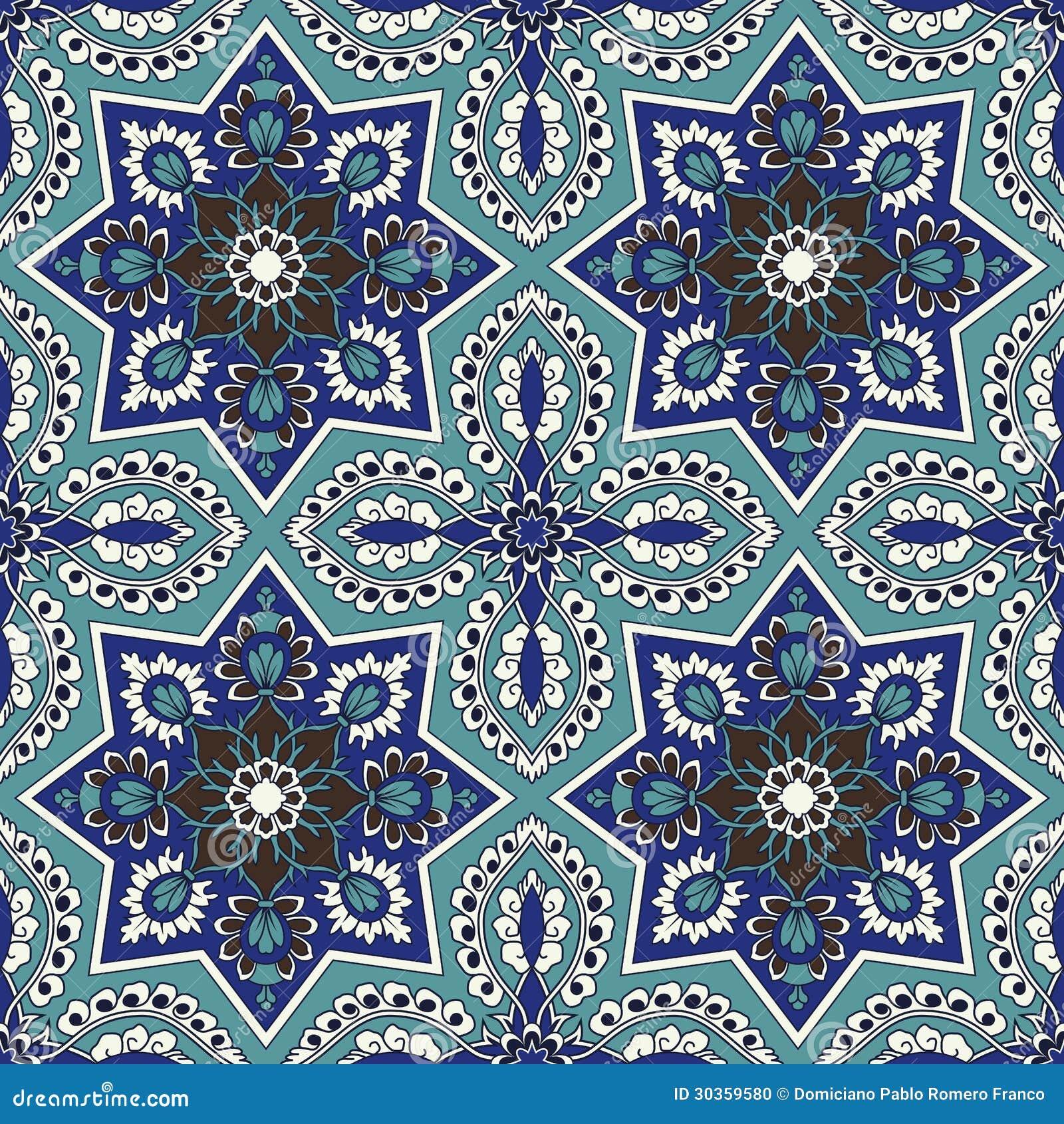 Modello senza cuciture di arabesque in blu e turchese
